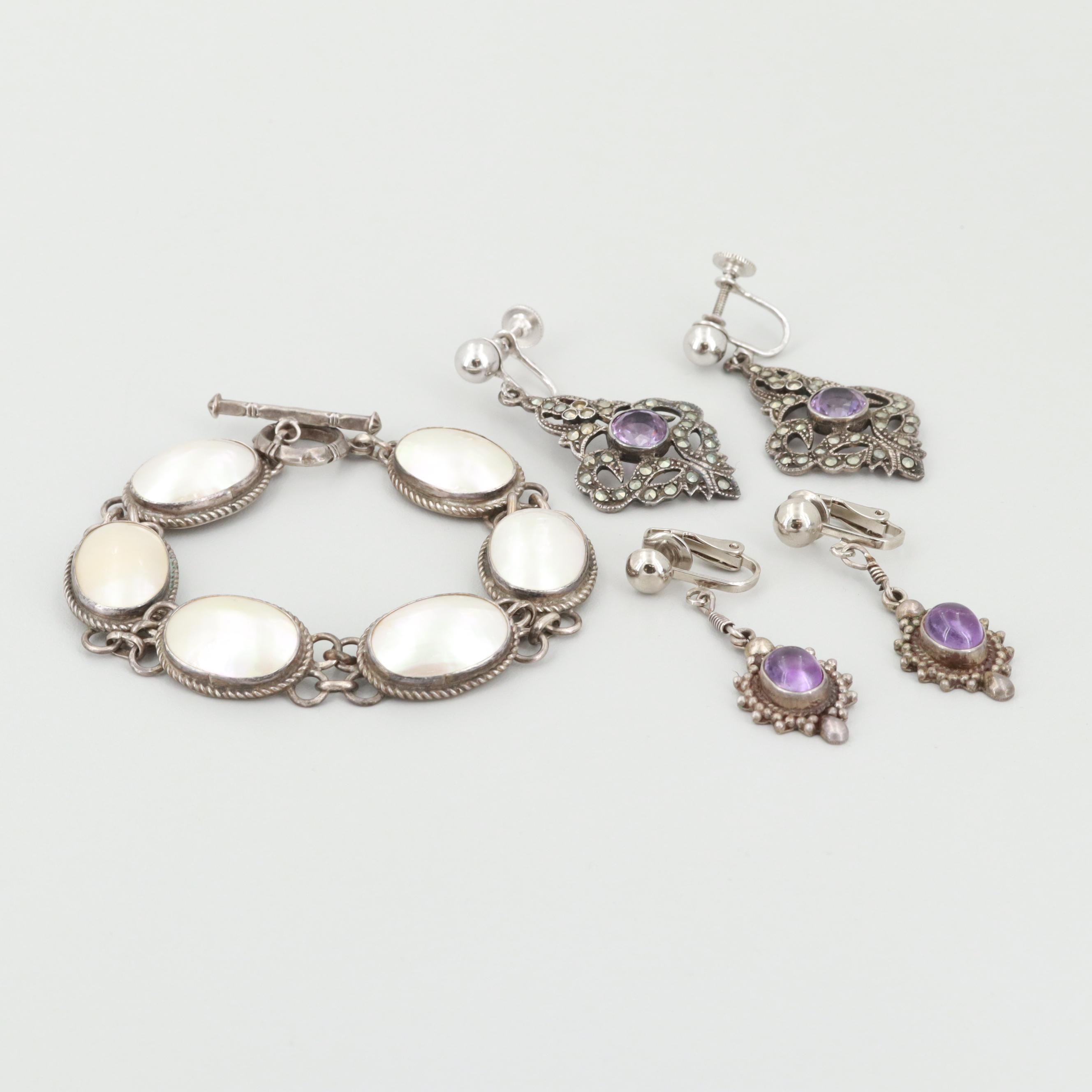 Sterling Silver Mother of Pearl, Amethyst and Marcasite Earrings and Bracelet
