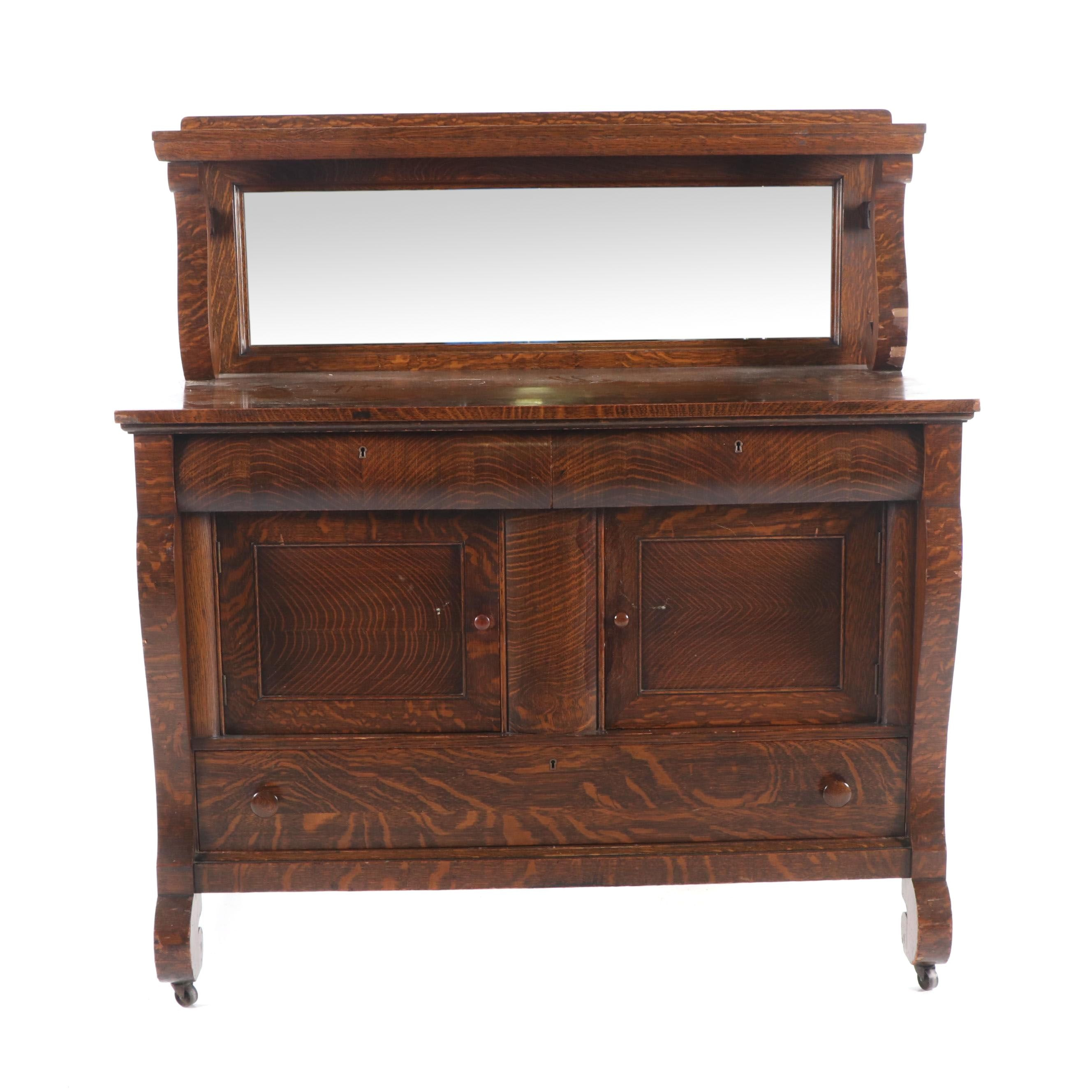 American Empire Style Tiger Oak Buffet with Mirror, Late 19th Century