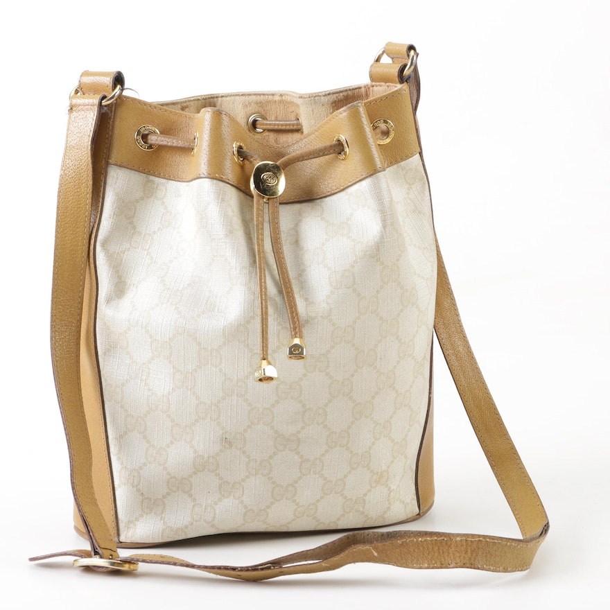 928919697922 Gucci Accessory Collection Monogram Coated Canvas Bucket Bag with Leather  Trim ...