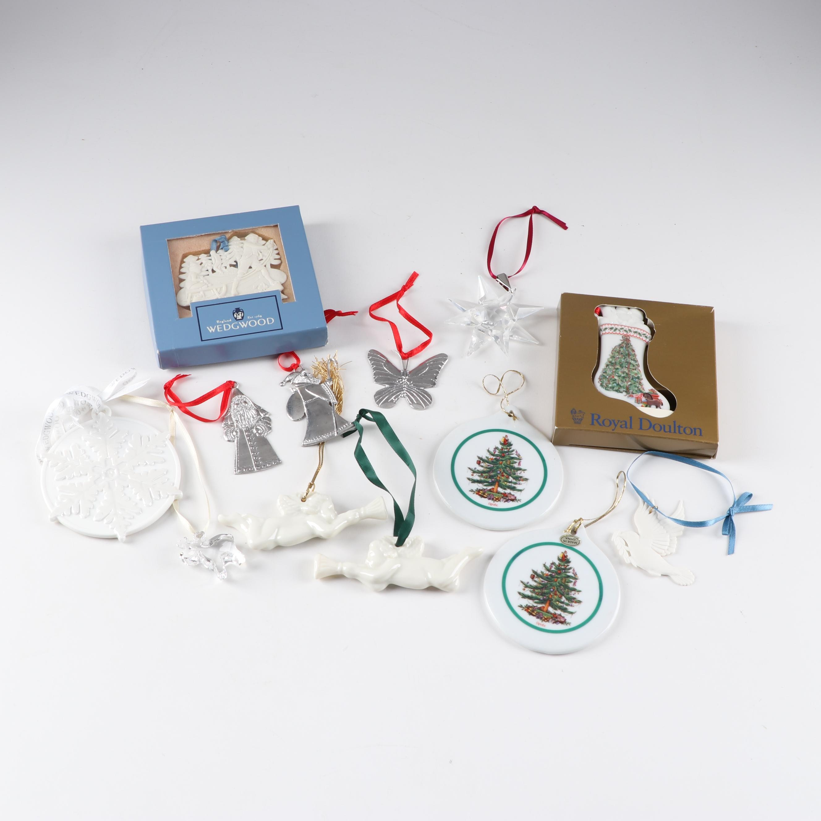 Christmas Ornaments Featuring Swarovski, Belleek, Wedgwood, Spode, Royal Doulton