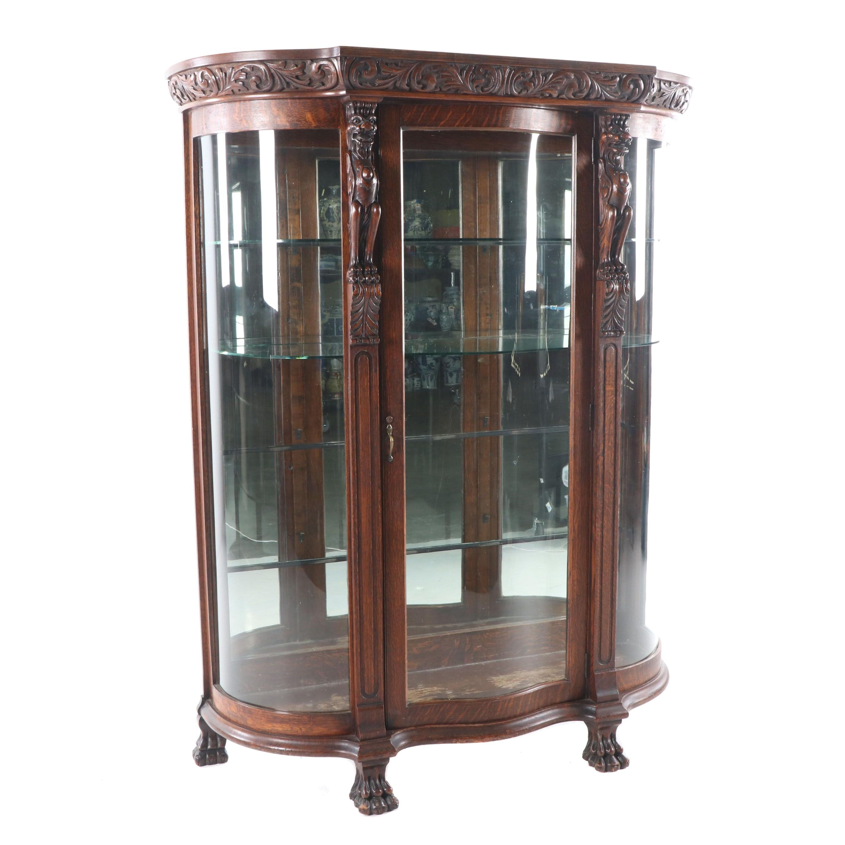 Renaissance Revival Style Carved Oak Display Cabinet, Late 19th/Early 20th C.