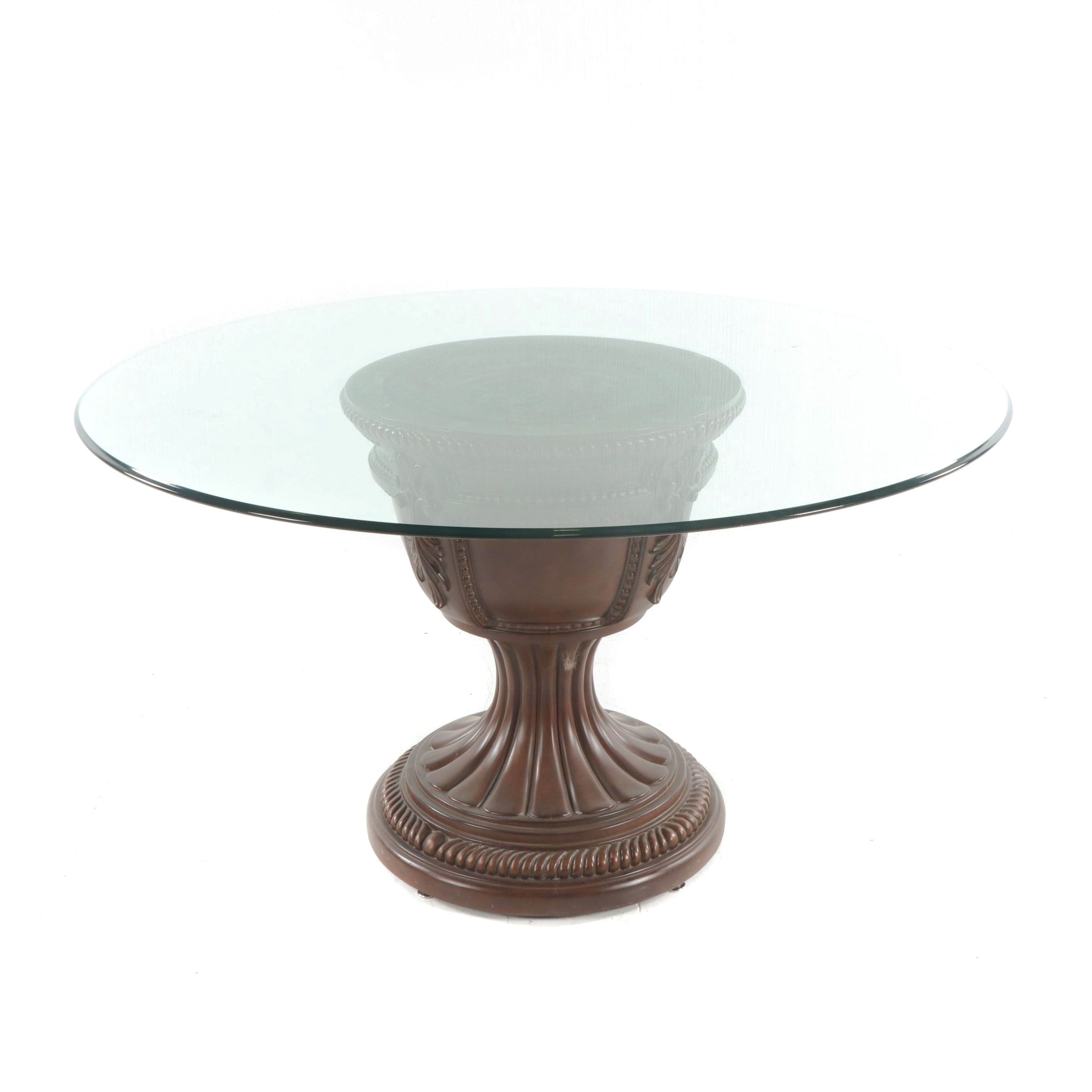 Neoclassical Style Urn Form Base Table with Glass Top, 21st Century