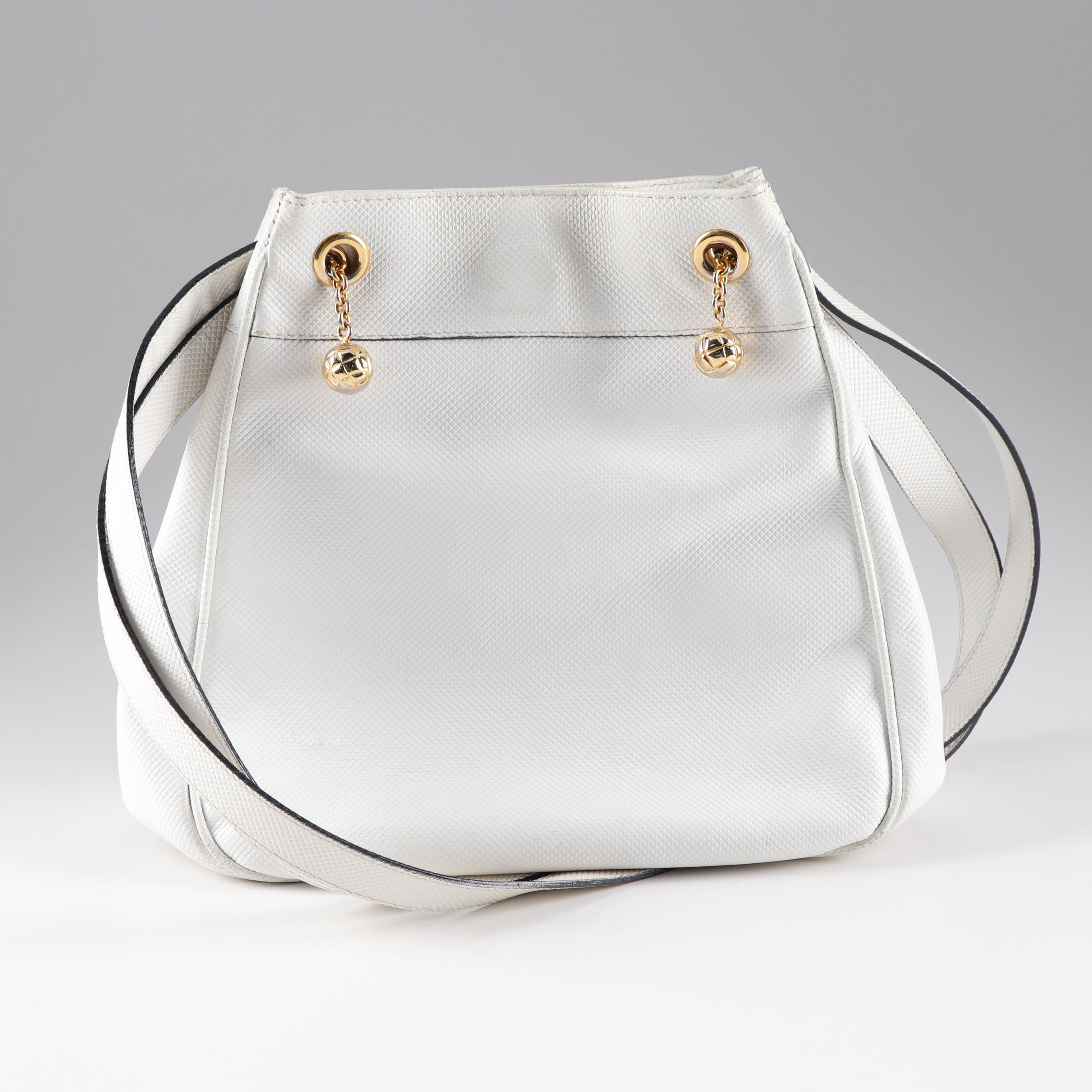 Bottega Veneta Embossed White Leather Shoulder Bag, Made in Italy