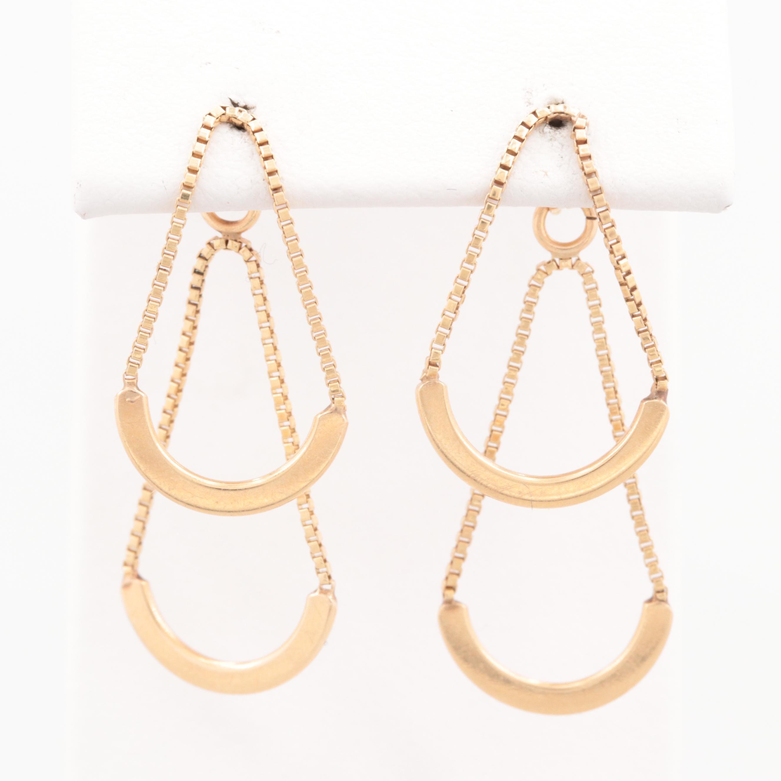 14K Yellow Gold Half-Circle Dangle Earrings
