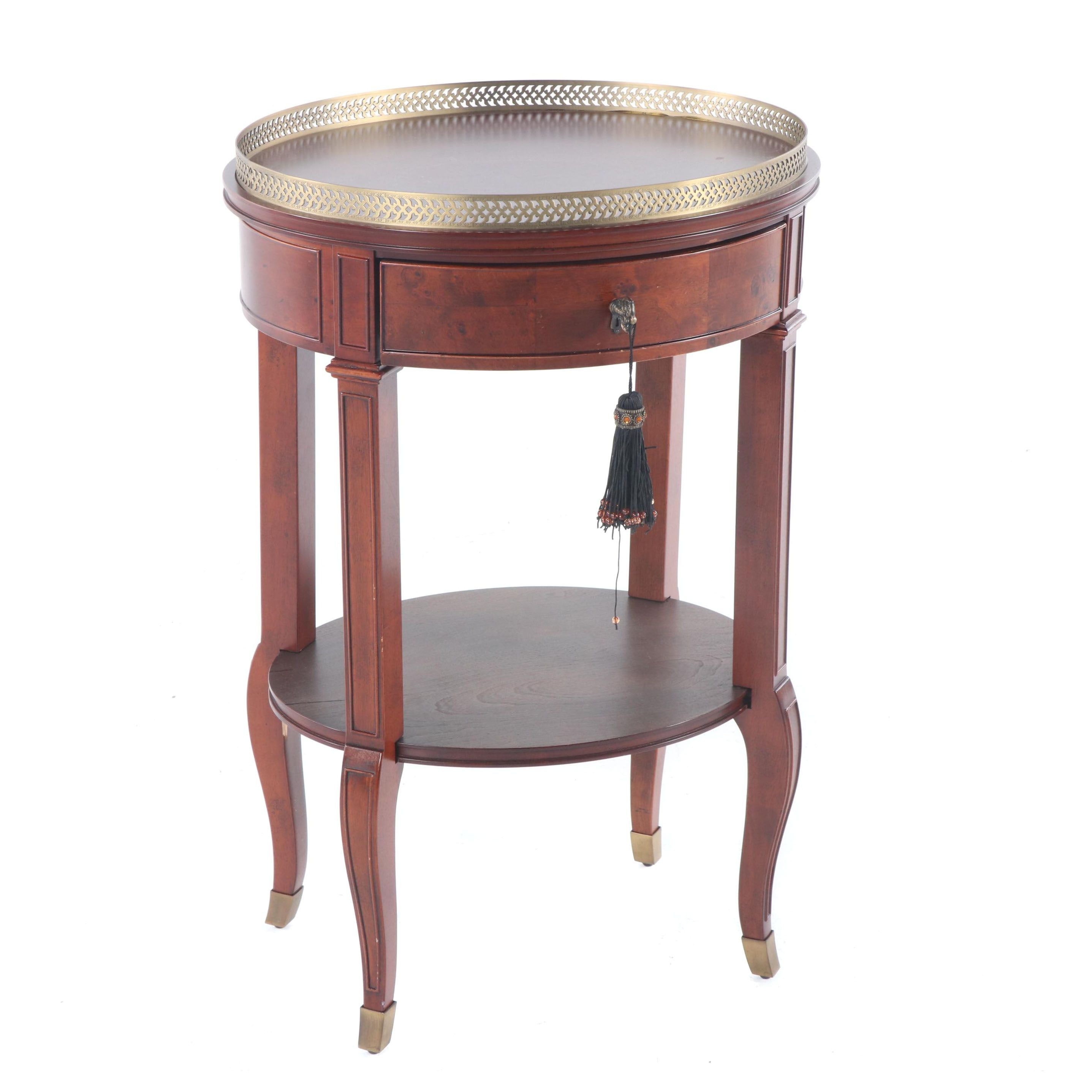 Federal Style Burl Wood Side Table with Brass Gallery Rail, Late 20th Century