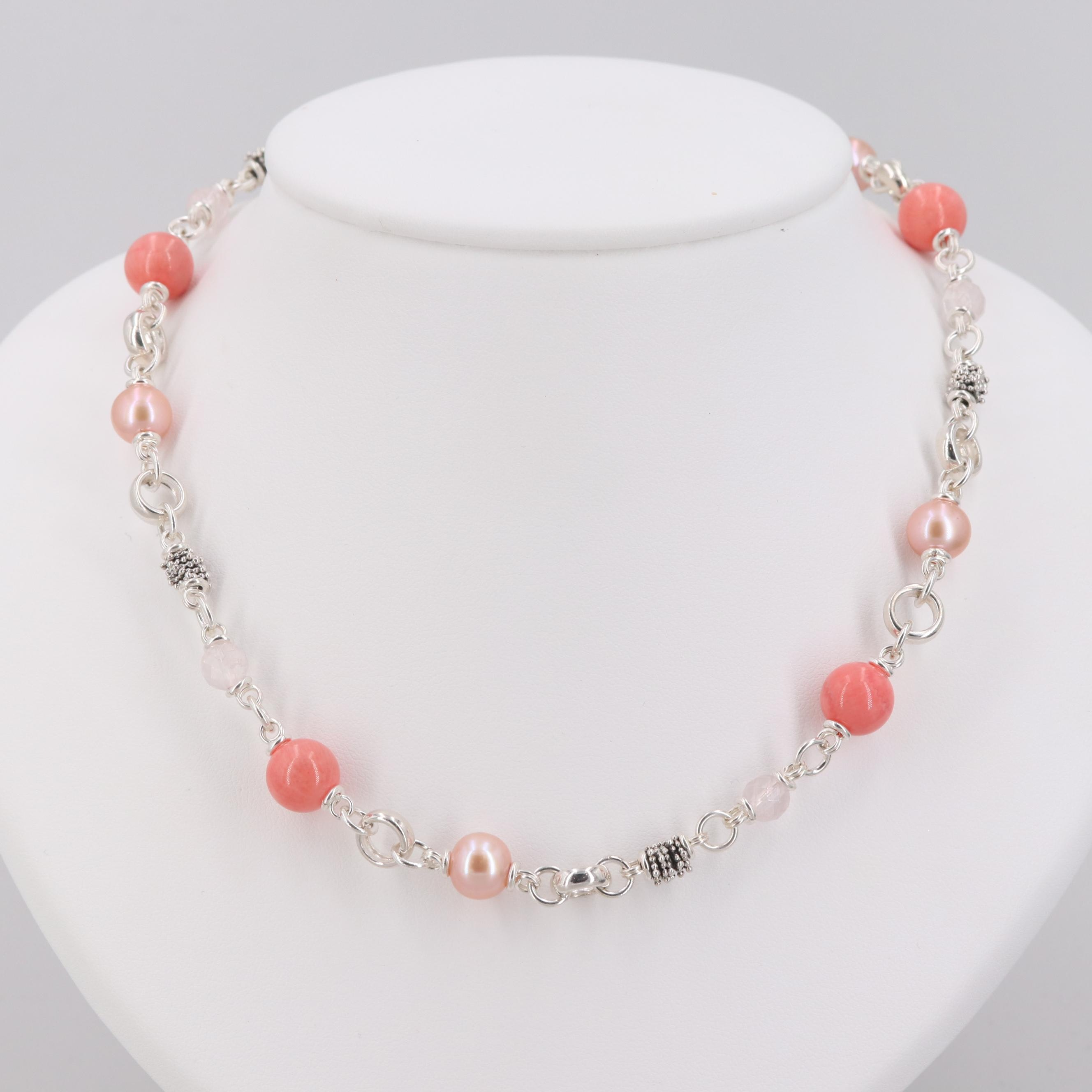 Michael Dawkins Sterling Silver Quartz, Cultured Pearl and Coral Necklace