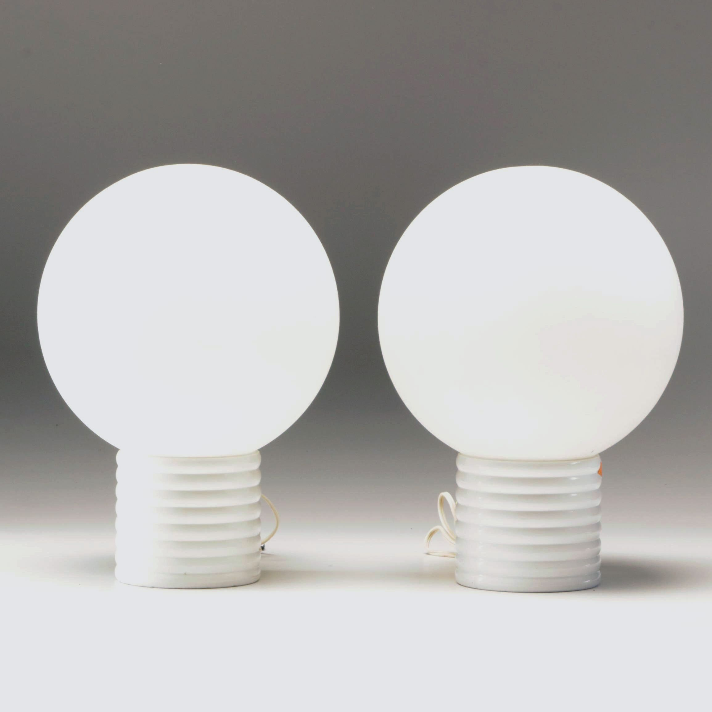 Mid Century Modern Style White Globe Lamps