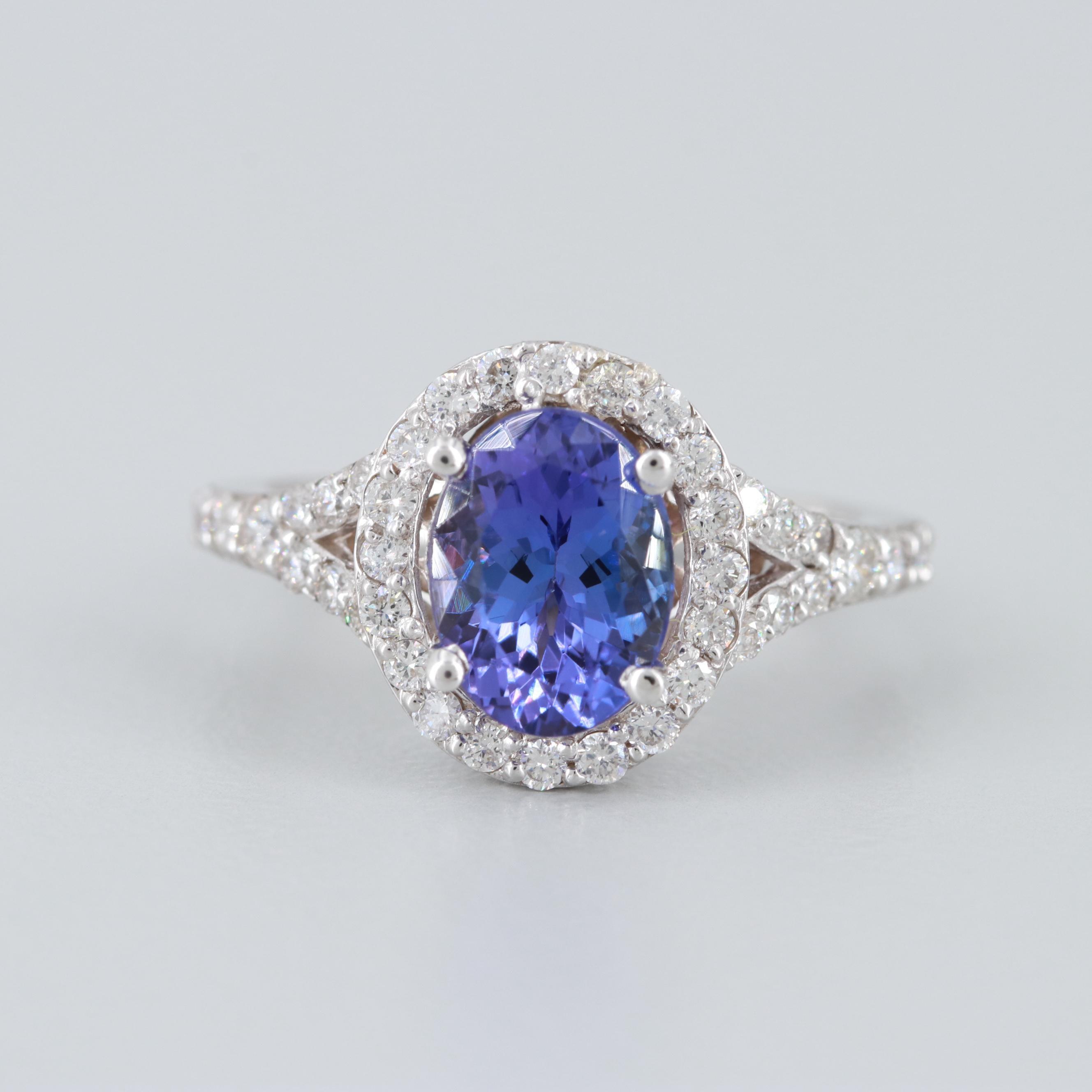 14K White Gold Tanzanite and Diamond Halo Ring