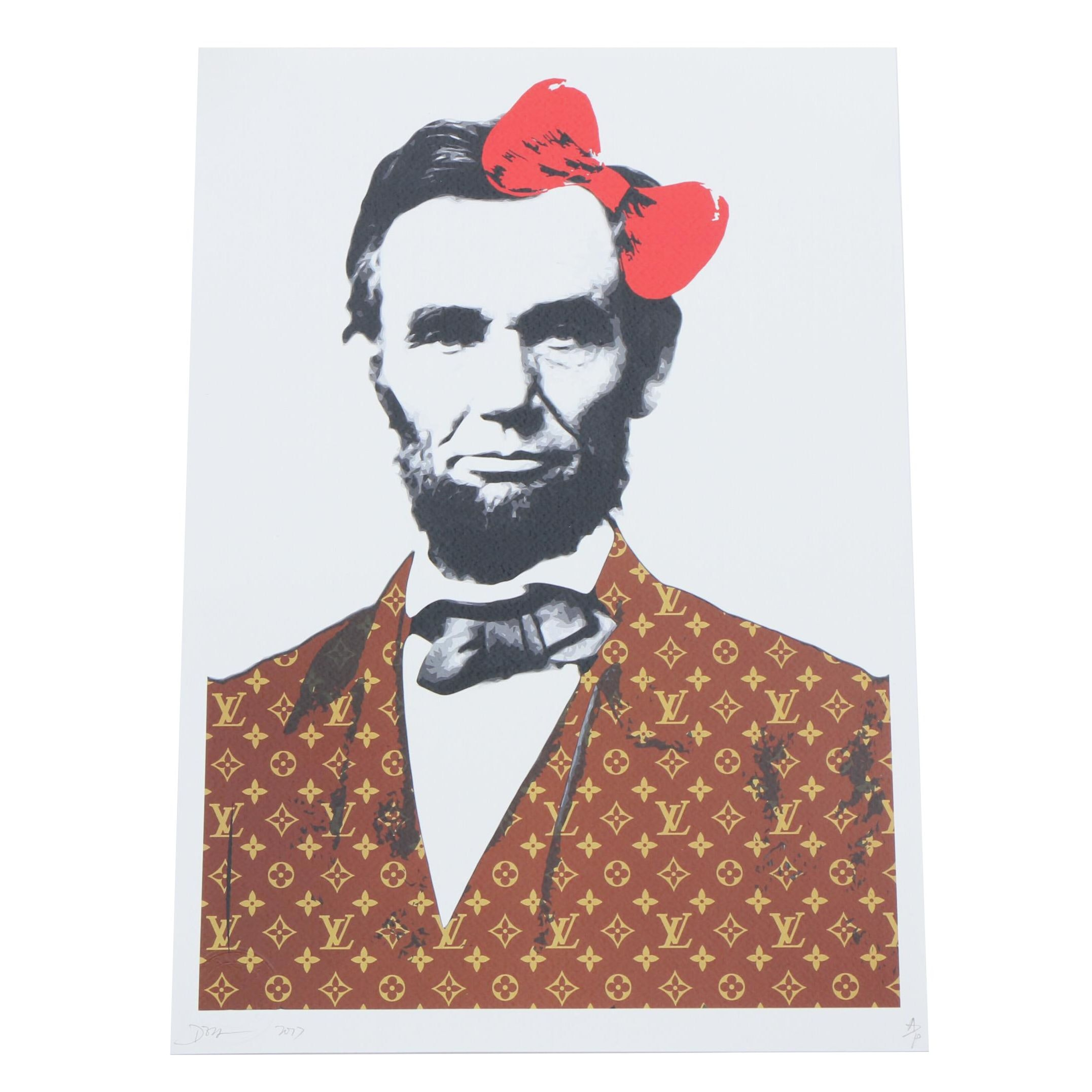 """Death NYC Artist Proof Street Art Style Offset Print """"Lincoln Bow Red"""""""