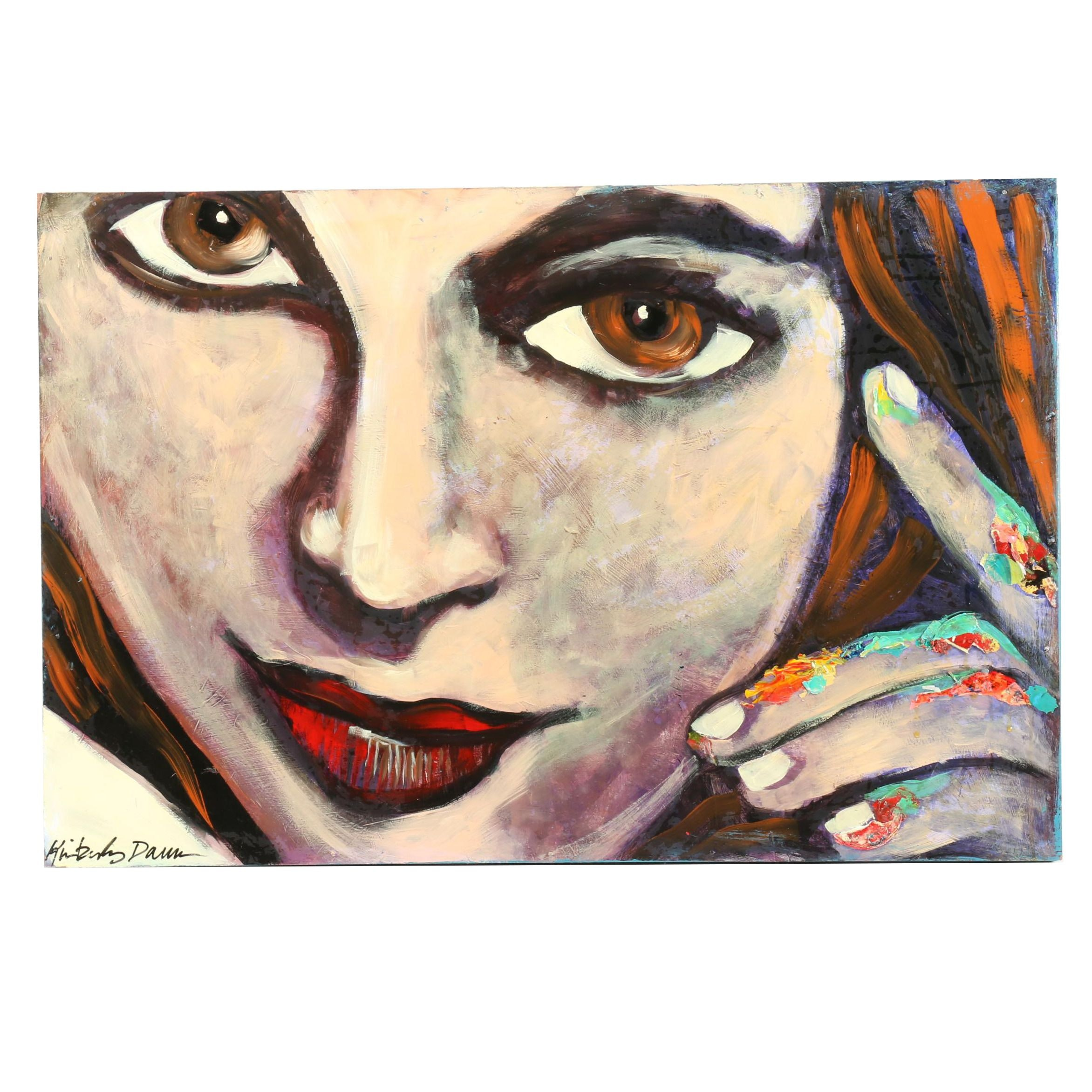 "Kimberly Dawn Clayton Acrylic Painting ""Brown Eyed Girl"""