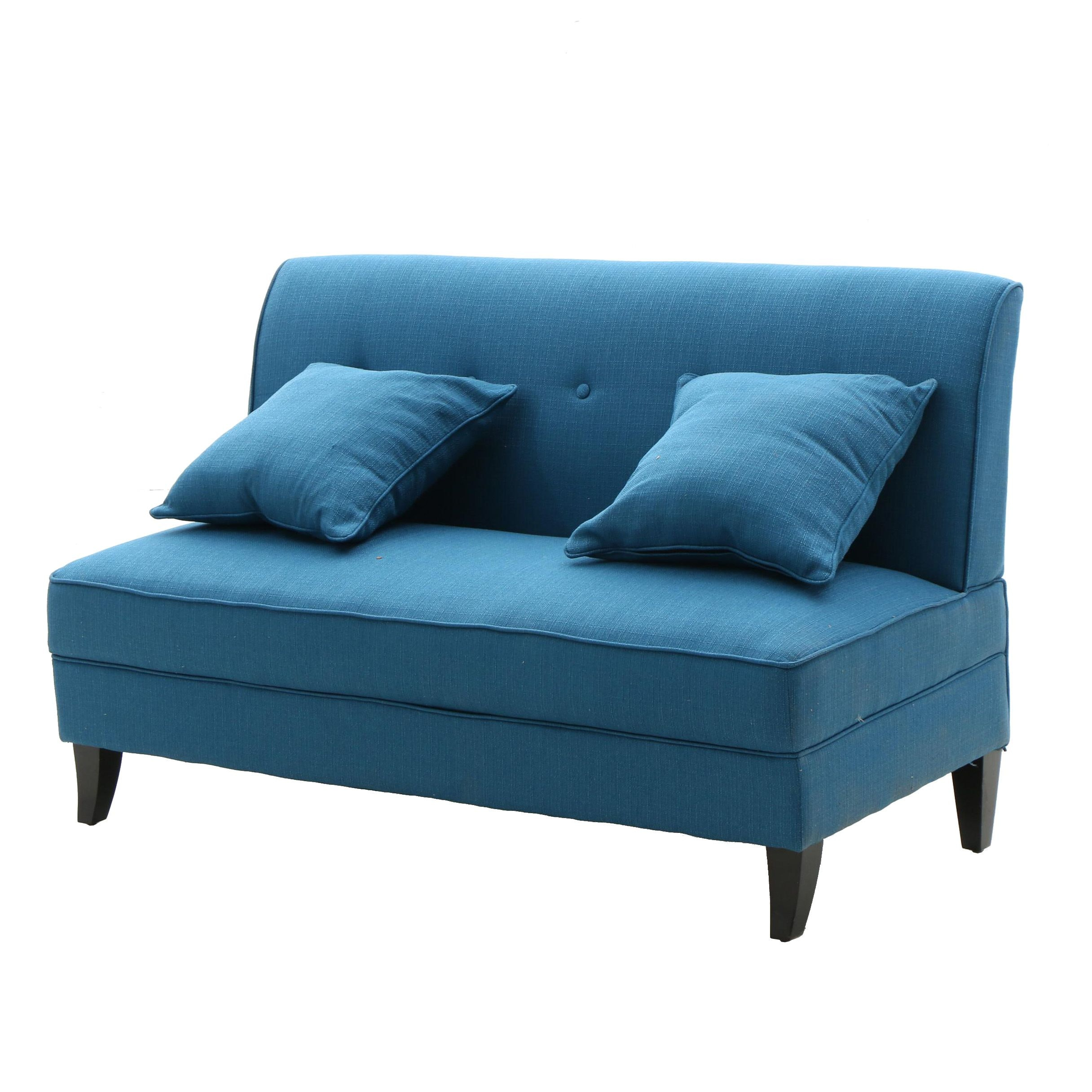 Upholstered Perseus Style Love Seat with Throw Pillows by Handy Living