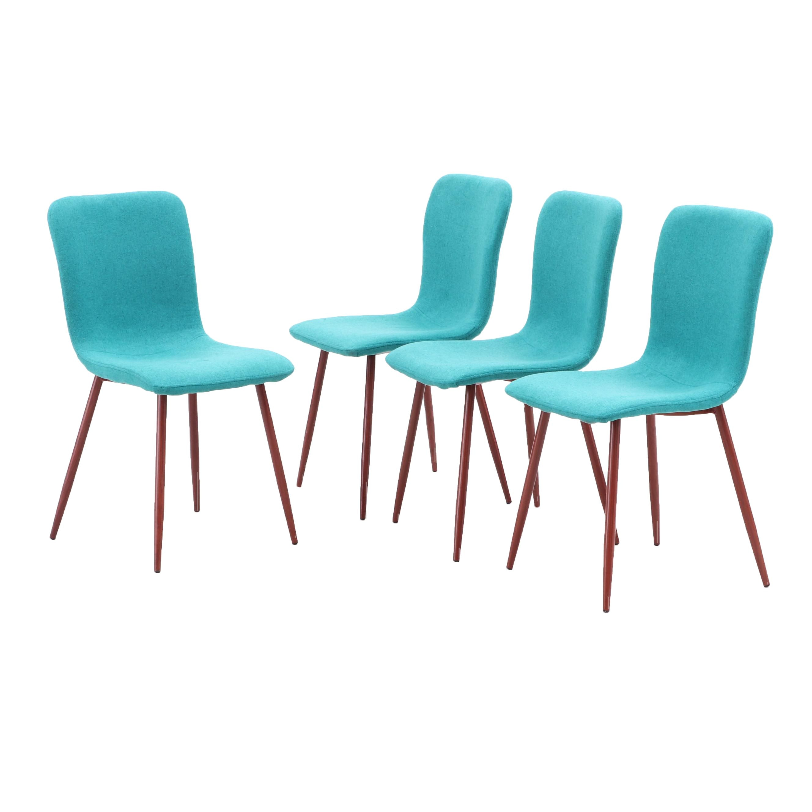 Four Coavas Style Dining Upholstered Chairs in Teal with Metal Legs