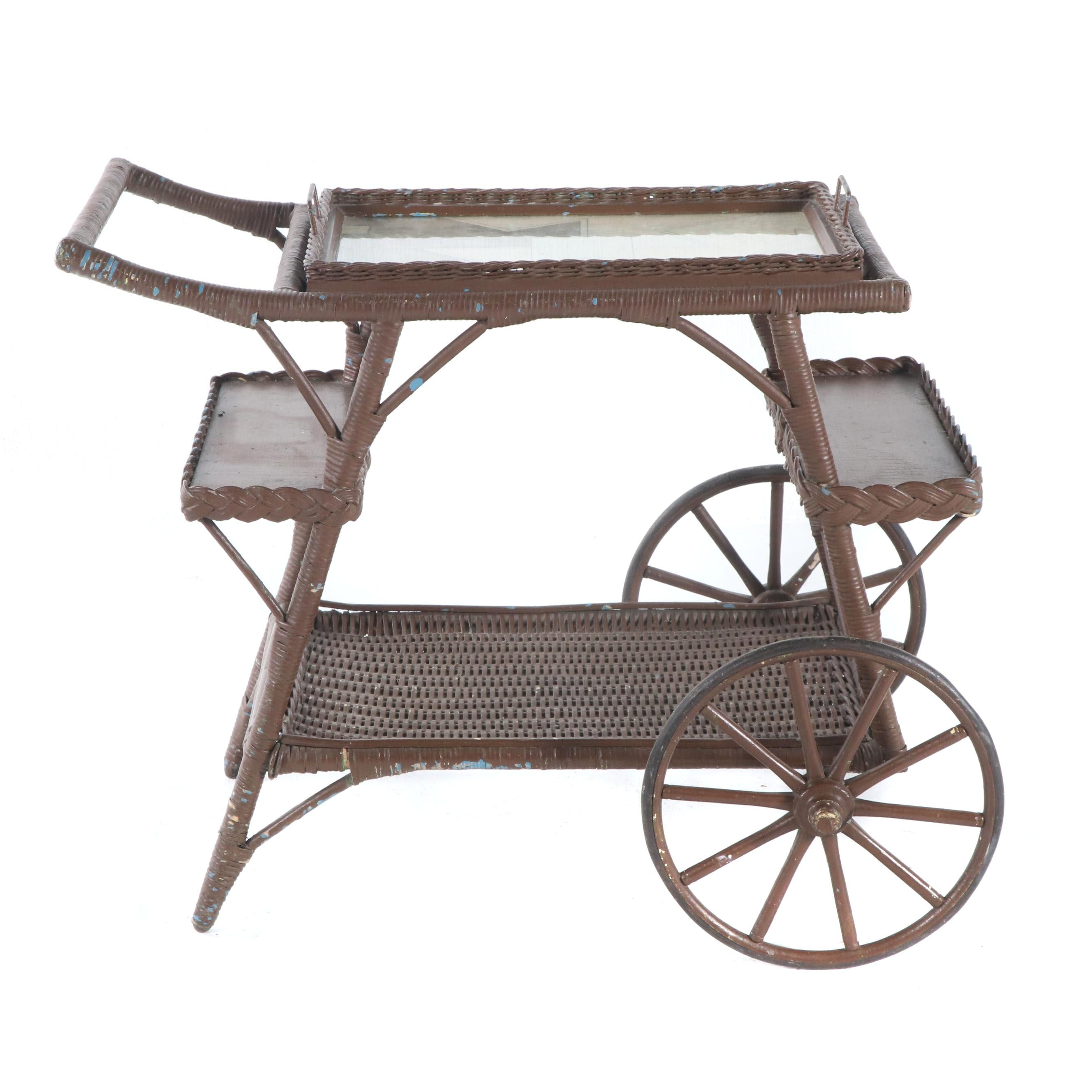 Painted Wicker Tray Top Tea Cart, Mid/Late 20th Century