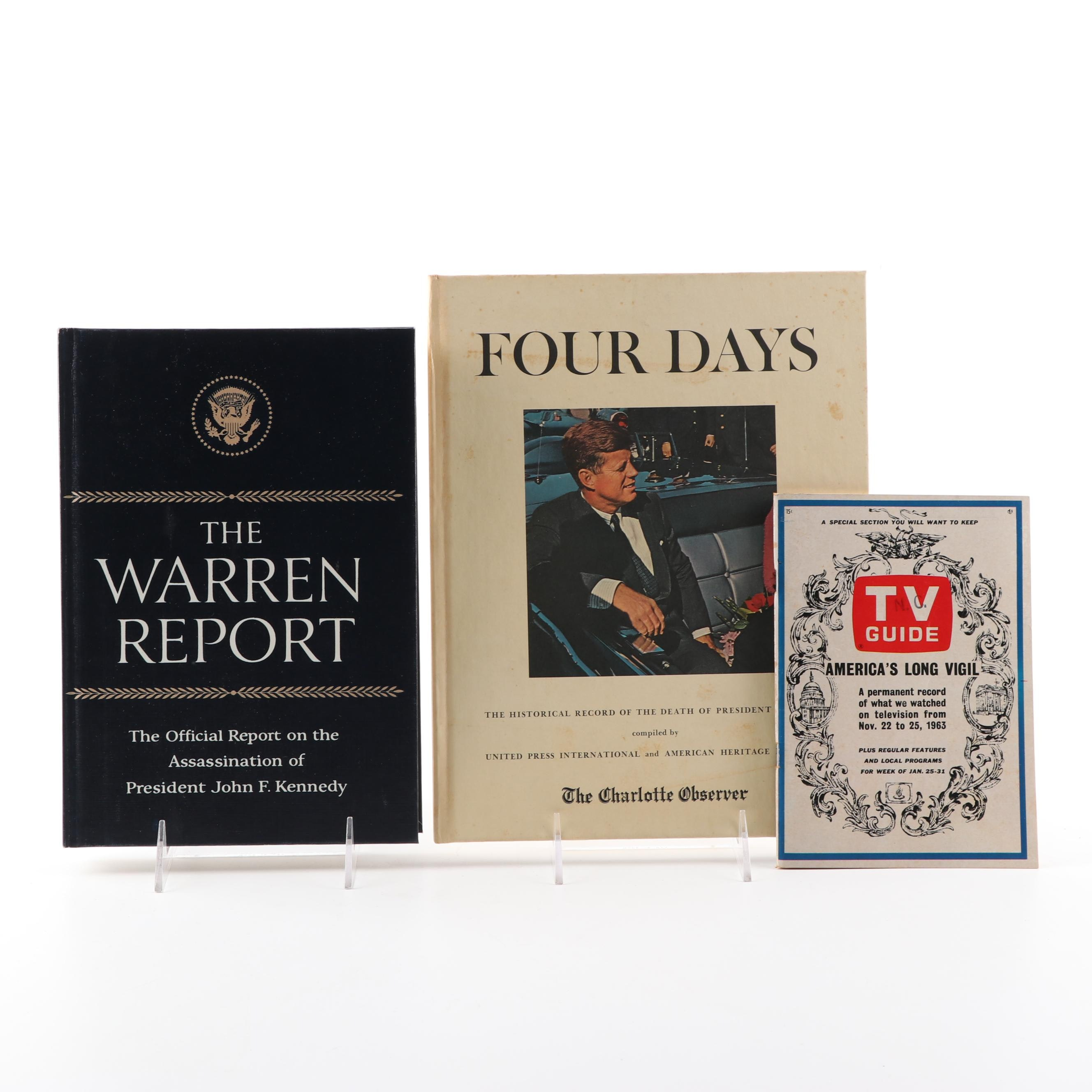"""JFK Publications with """"The Warren Report"""" and Vintage """"TV Guide"""""""