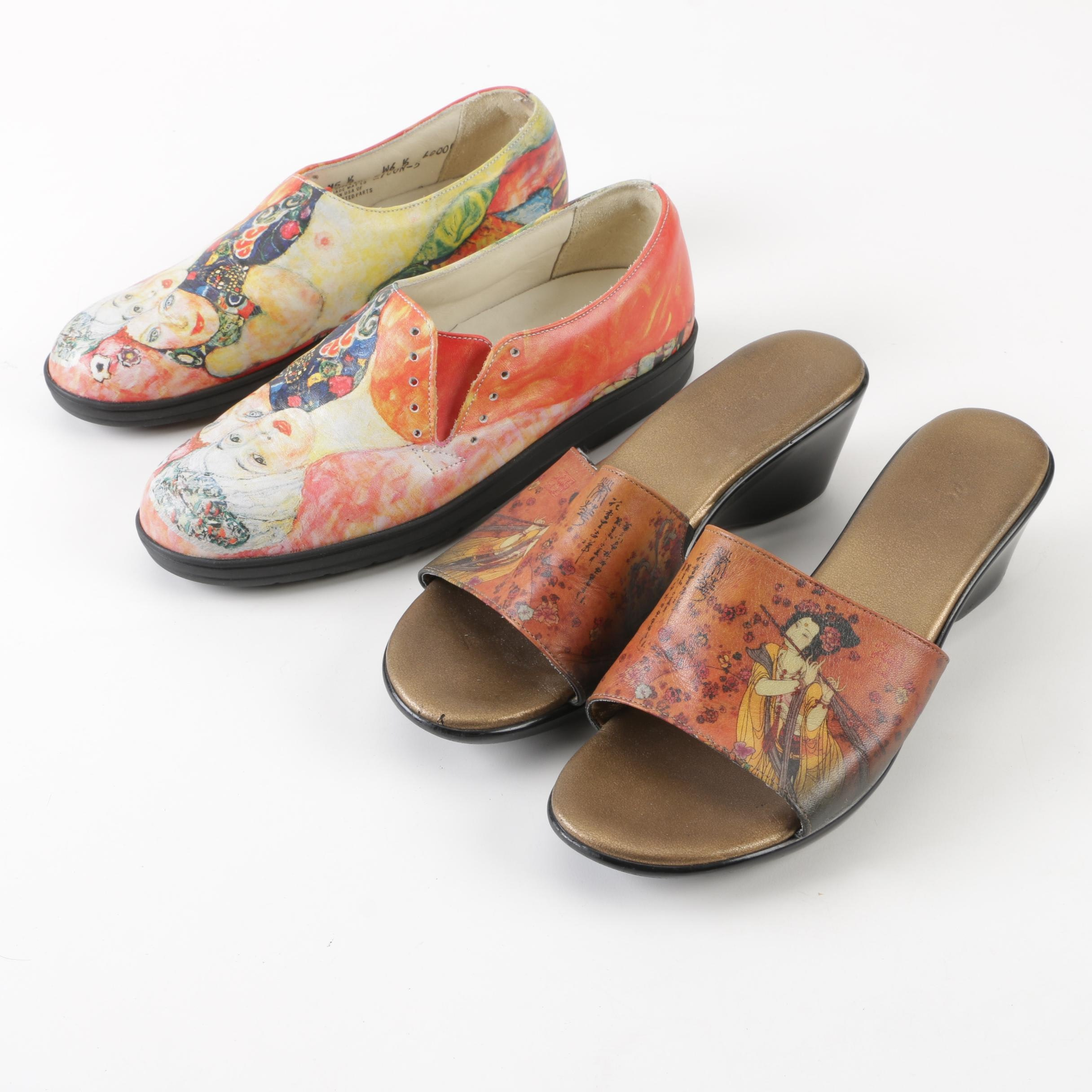 Icon Printed Leather Shoes and Sandals