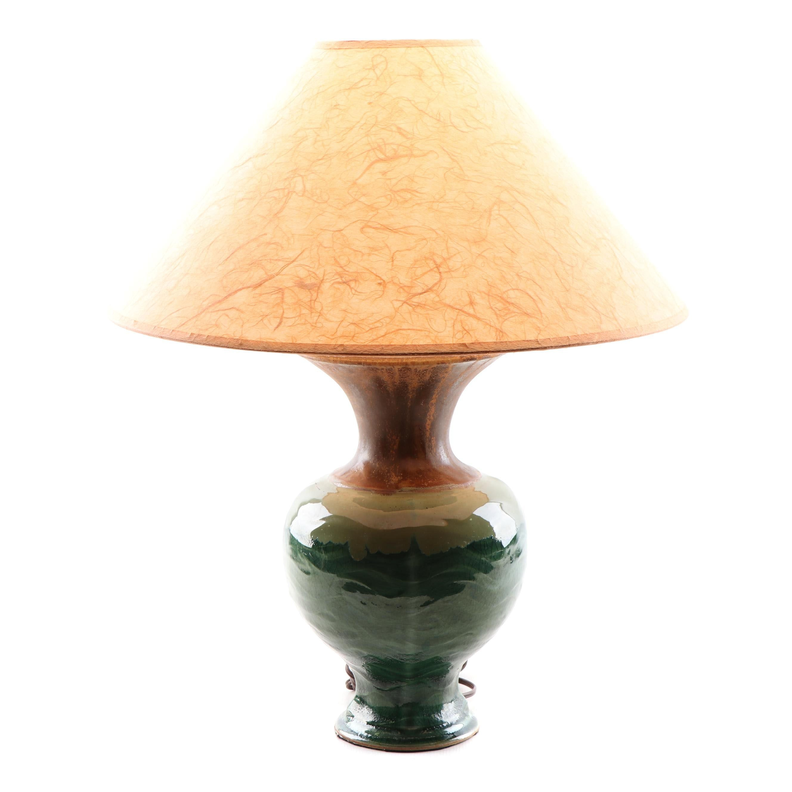 Wheel Thrown Stoneware Drip Glazed Table Lamp with Parchment Lamp Shade