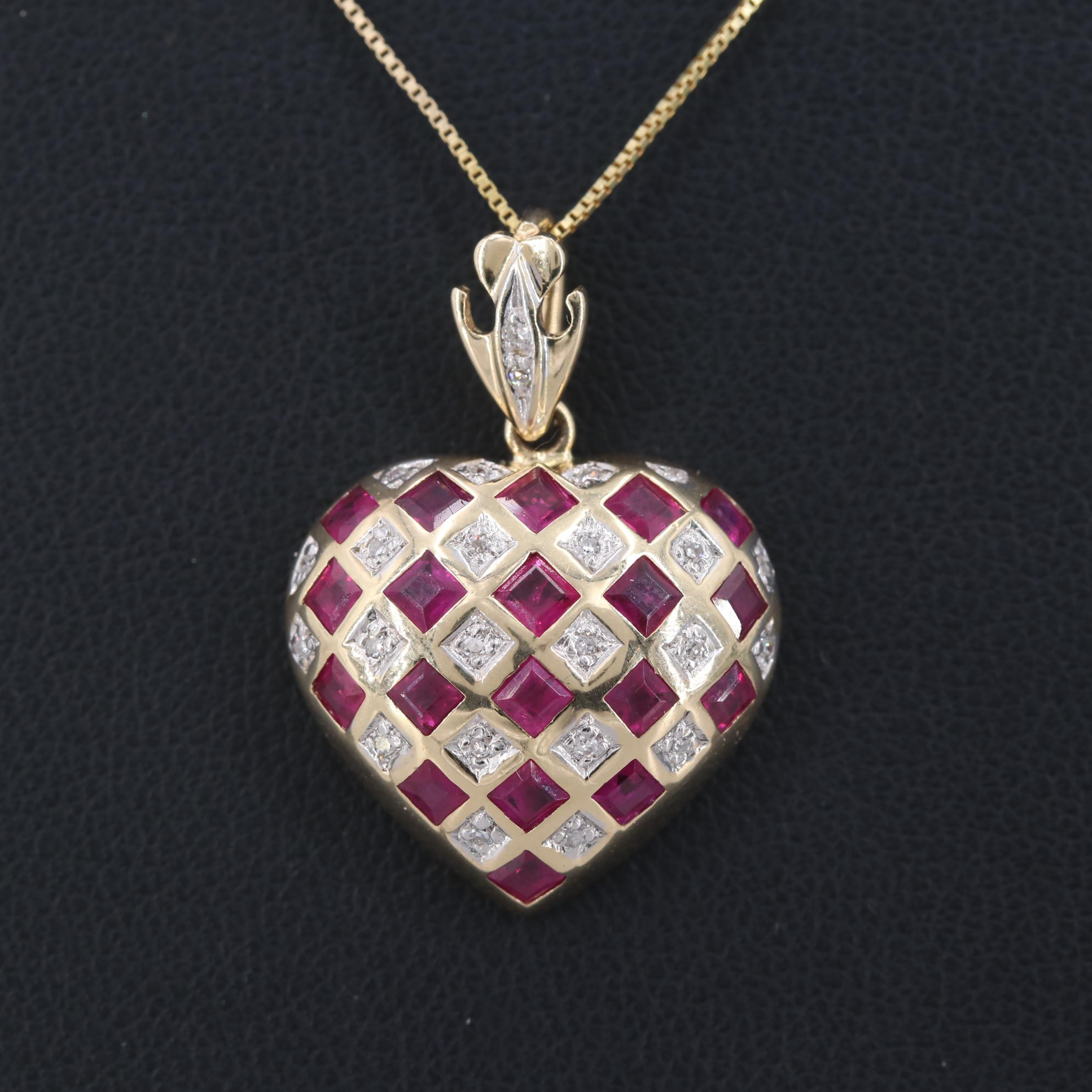 14K Yellow Gold Ruby and Diamond Heart Shaped Pendant Necklace