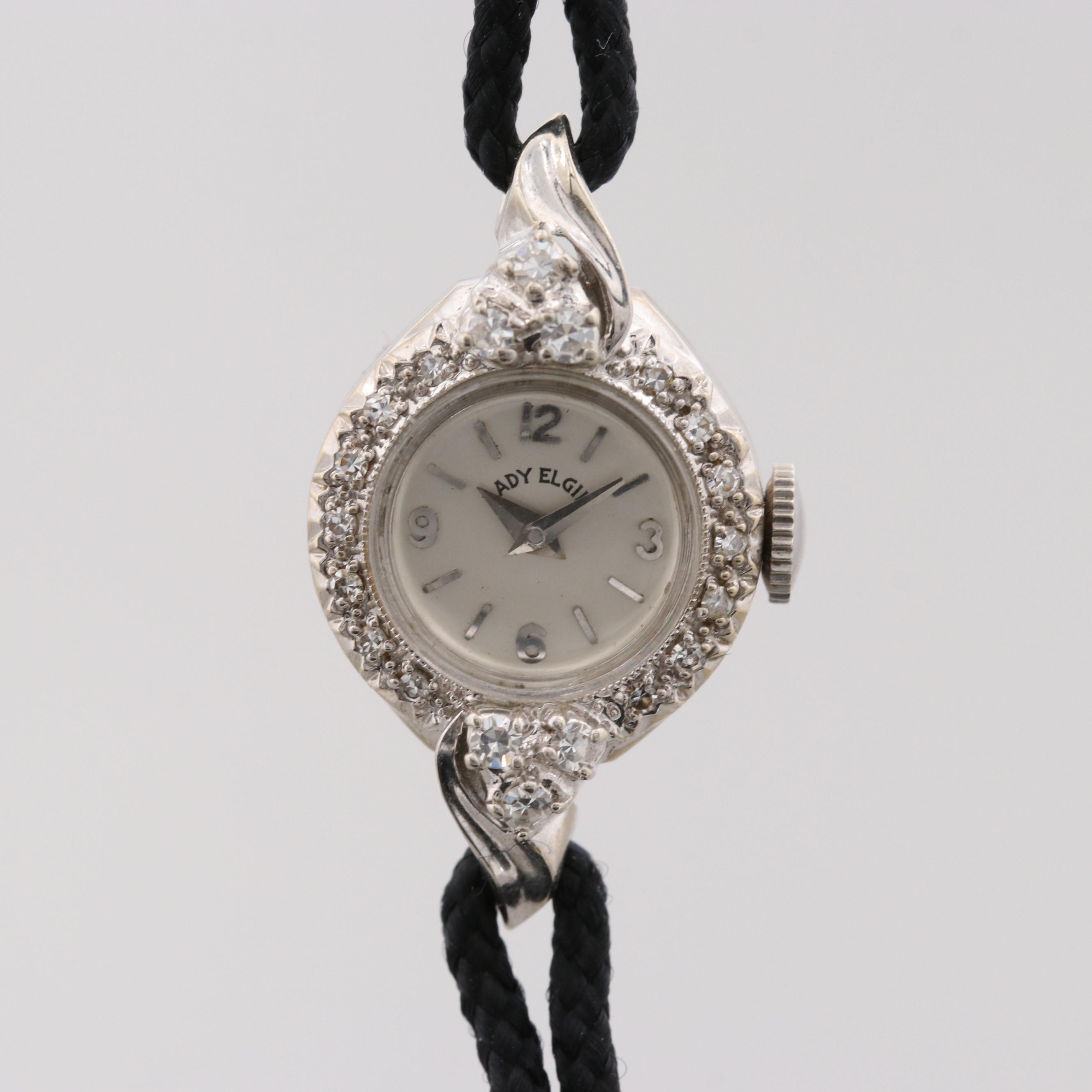 Vintage Lady Elgin 14K White Gold Diamond Wristwatch