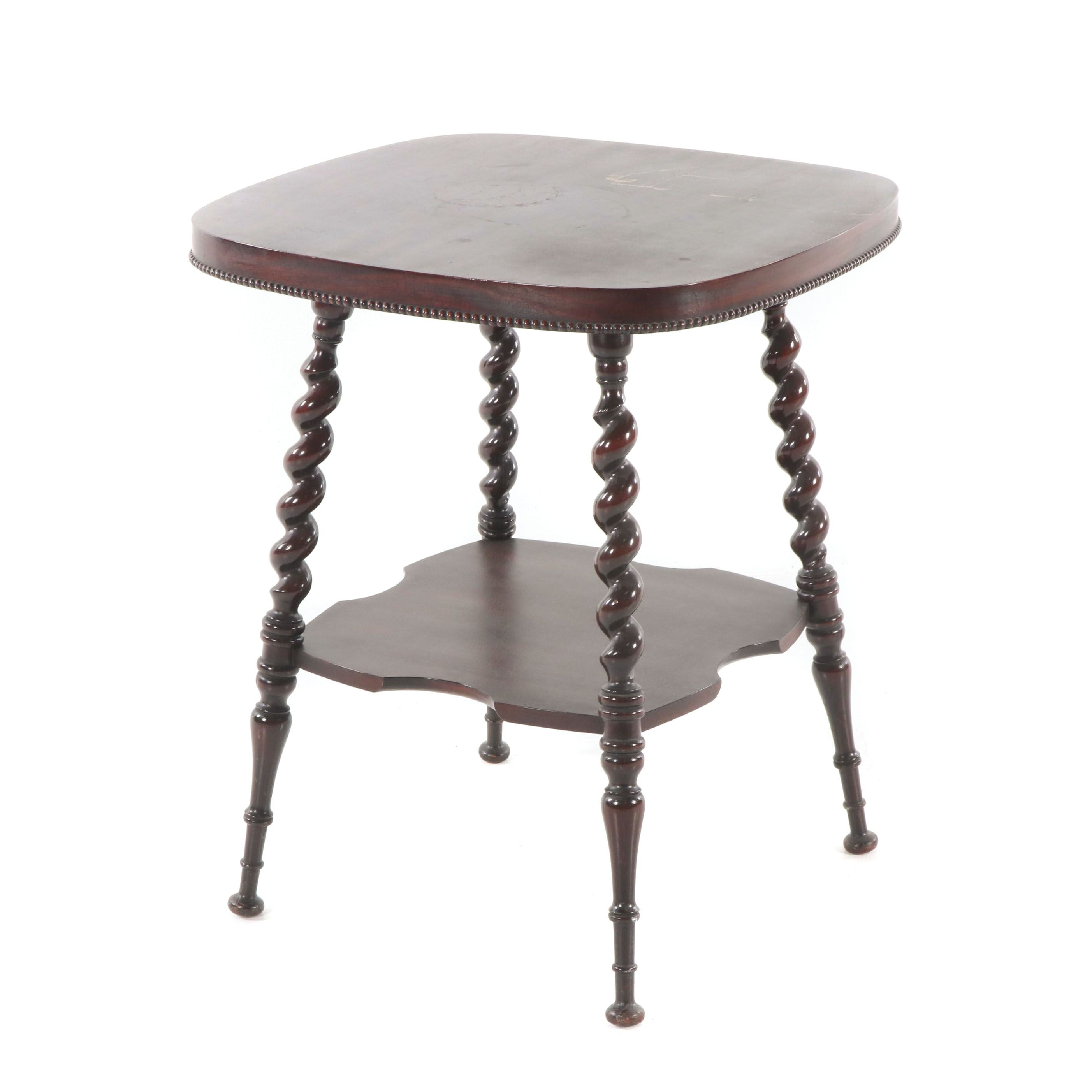 Victorian Style Mahogany Two-Tier Side Table, Early/Mid-20th Century