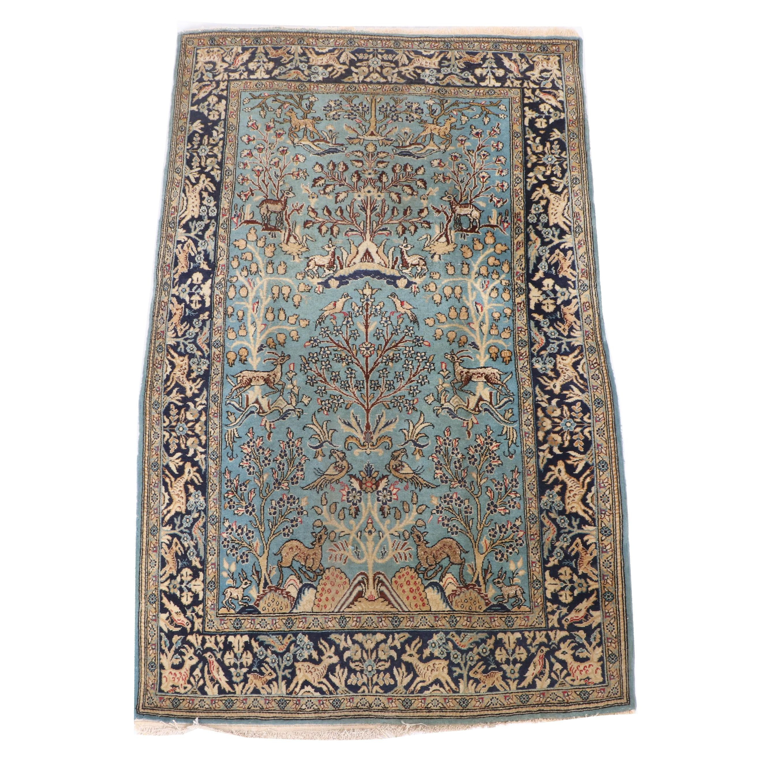 Hand-Knotted Persian Tabriz Tree of Life Wool Area Rug