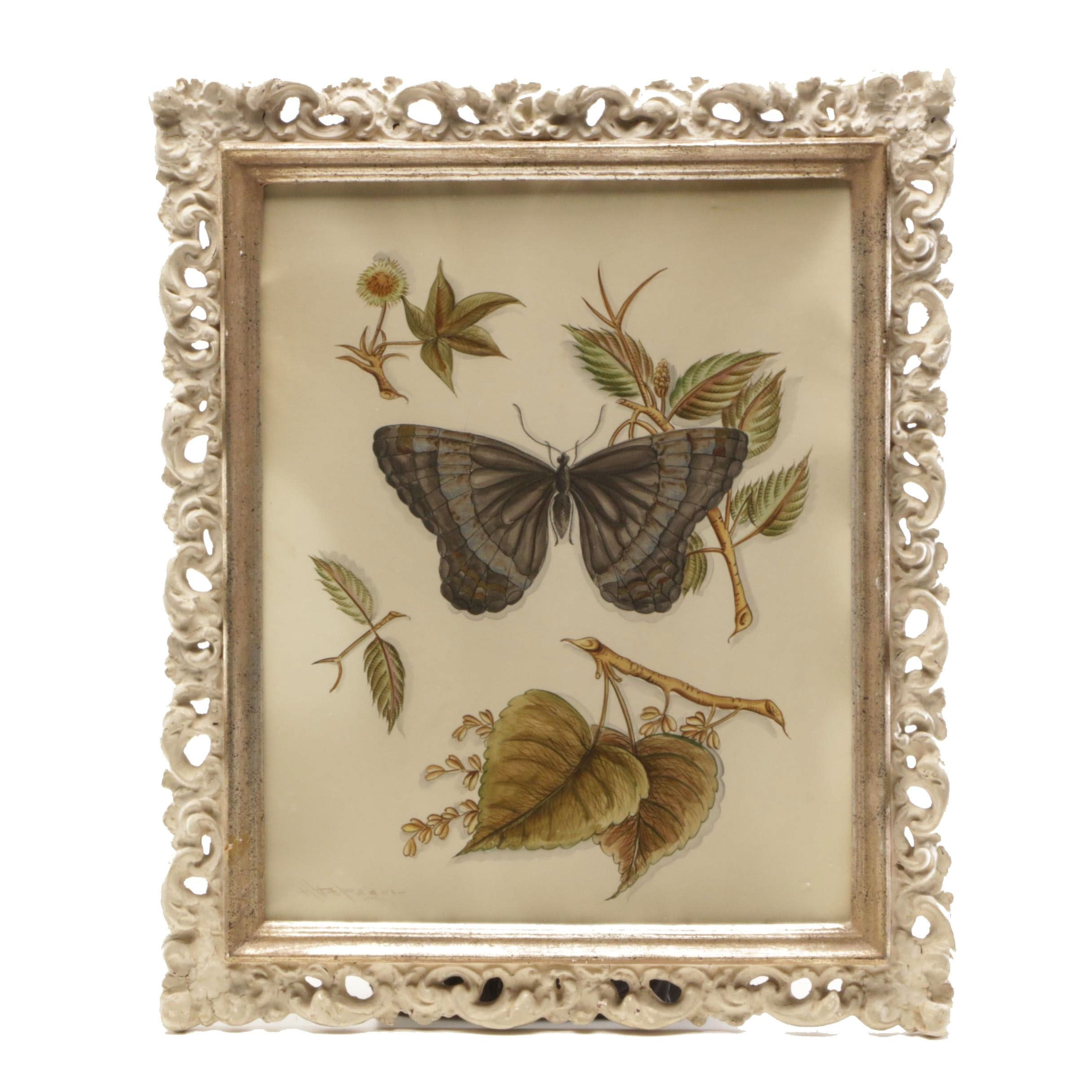 Mixed Media Painting of Butterfly and Leaves