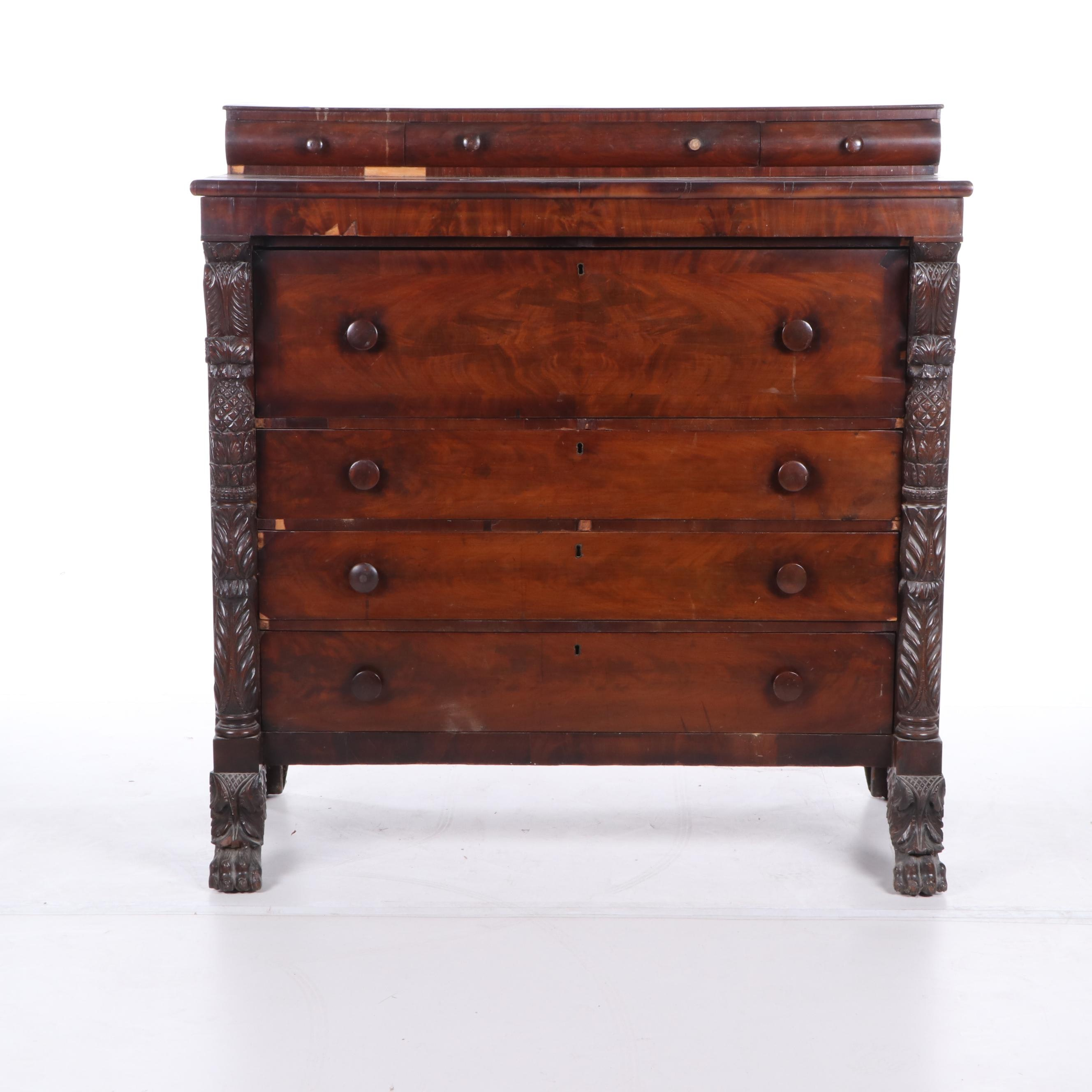 Empire Style Mahogany Chest of Drawers, Early to Mid 19th Century