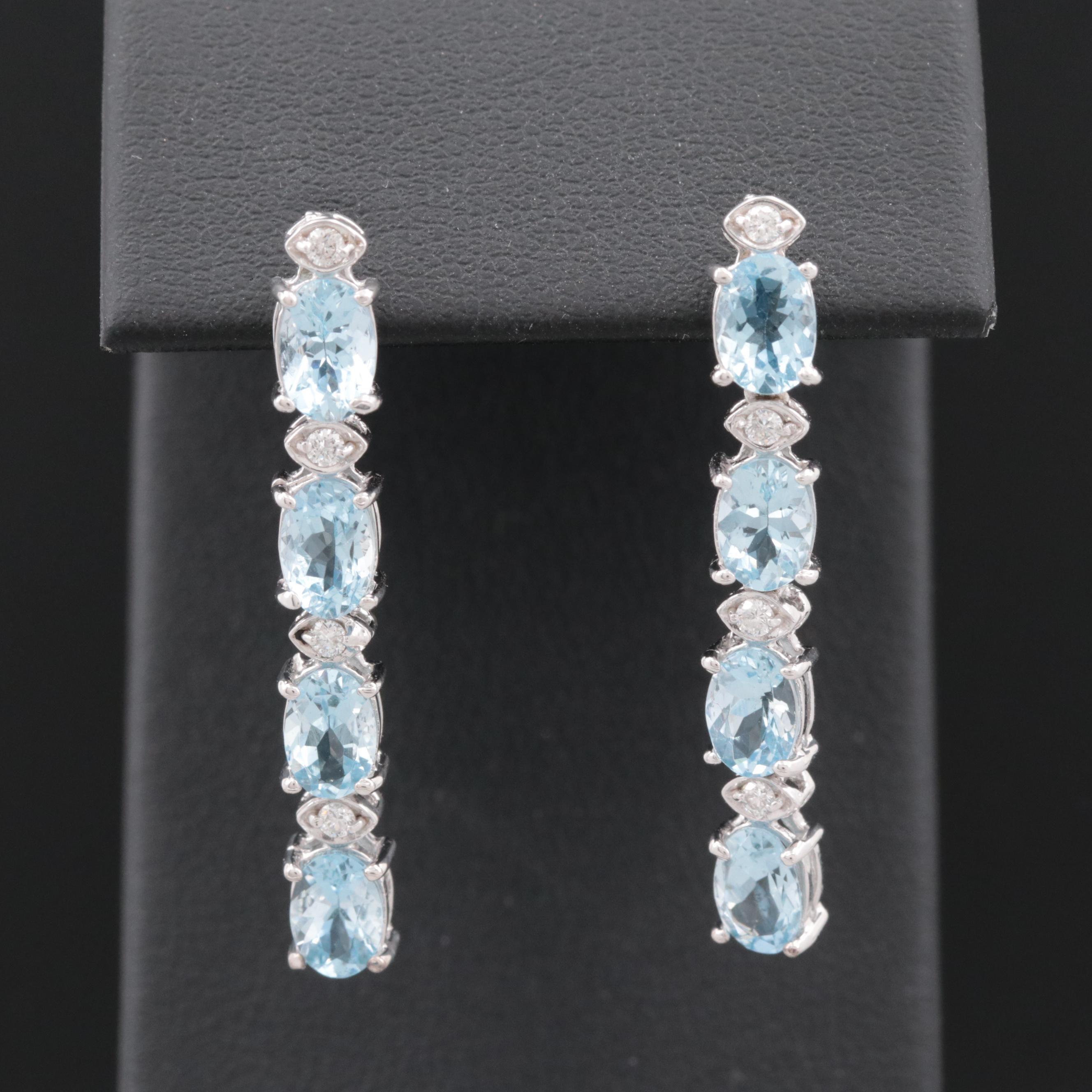 18K White Gold Aquamarine and Diamond Dangle Earrings