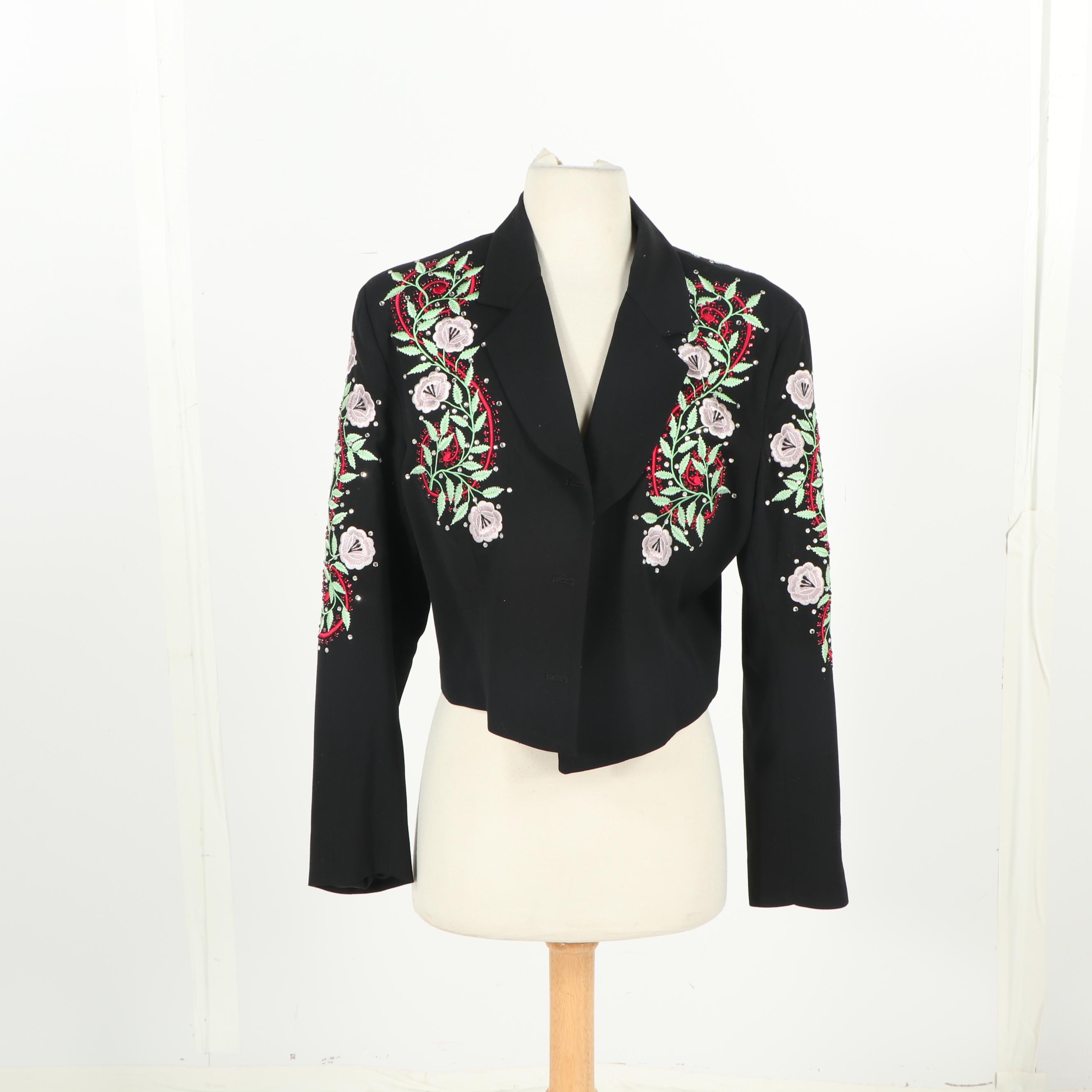 Women's The Manuel Collection Floral Embroidered Short Jacket with Rhinestones