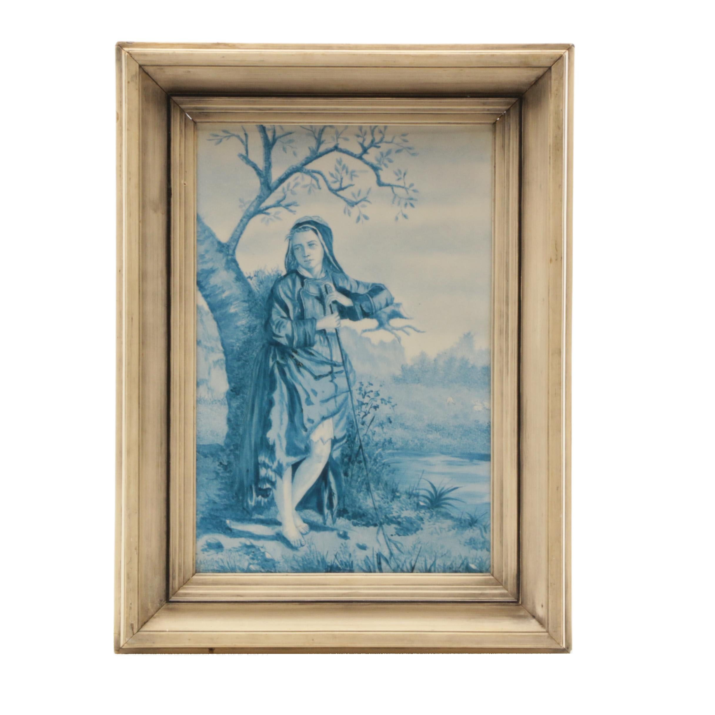 Framed Hand-Painted Delft Style Porcelain Tile with Image of Shepherd