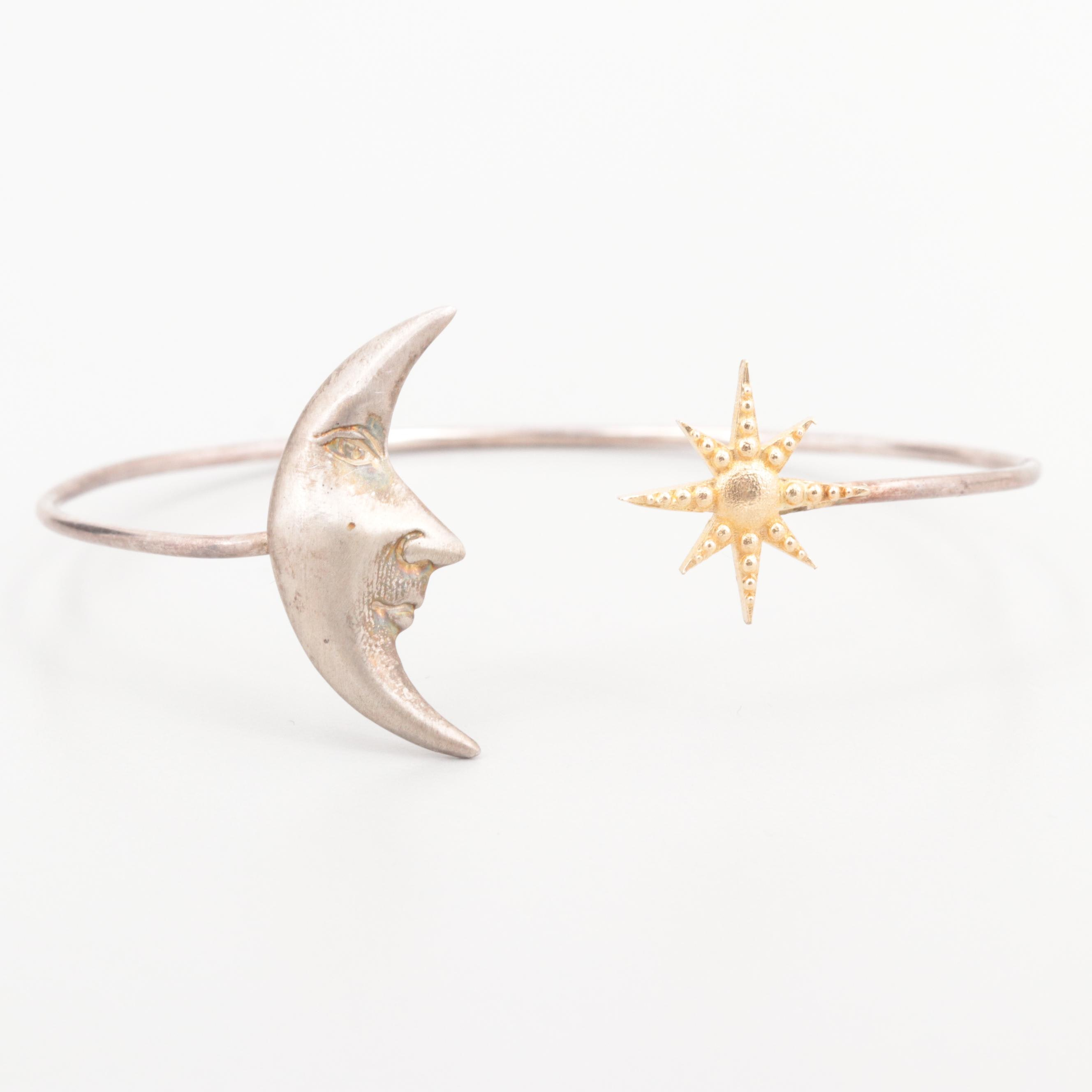 Sterling Silver Sun and Moon Bangle Bracelet with 14K Yellow Gold Accent