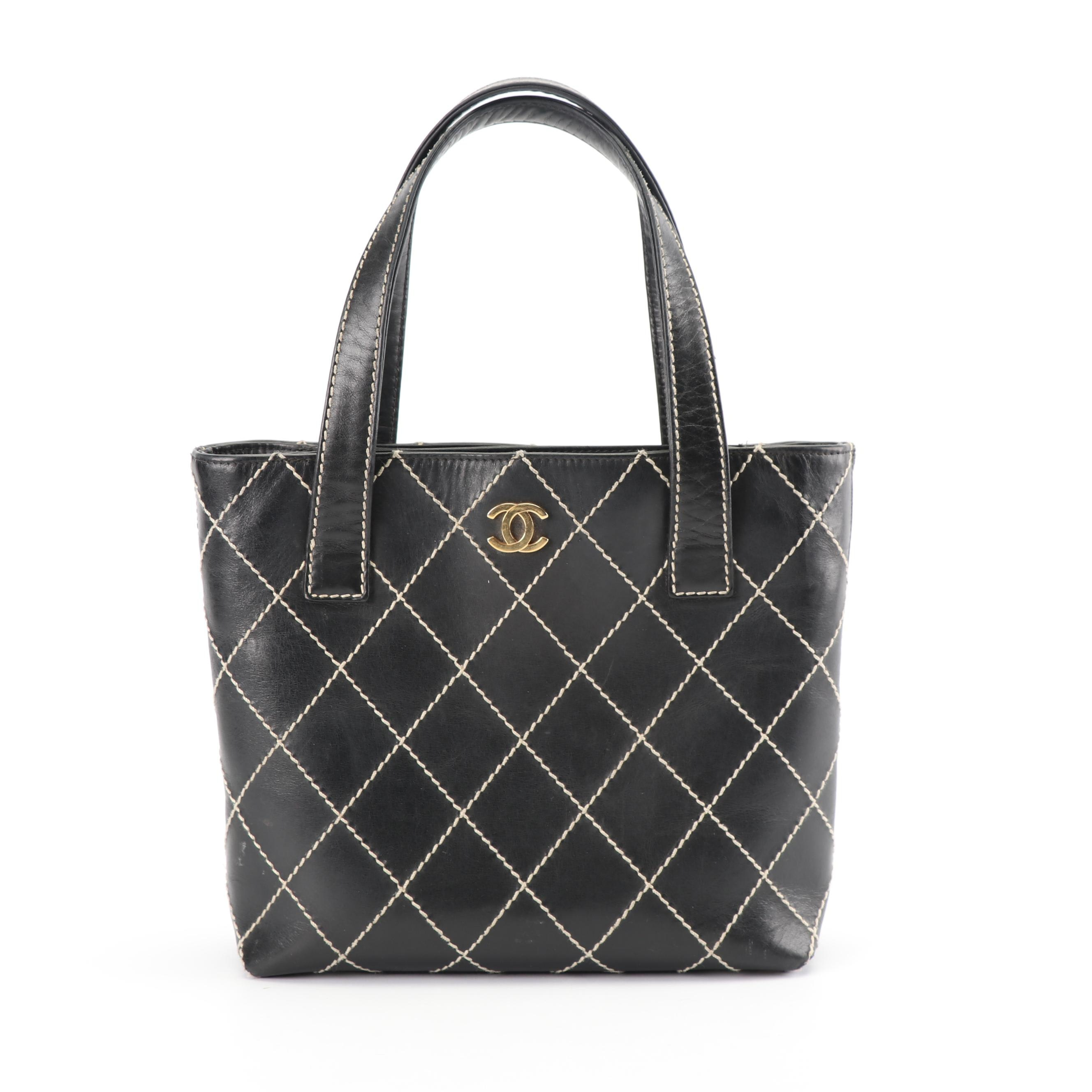 Chanel Black Calfskin Leather Tote with Diamond Contrast Stitch, Made in Italy