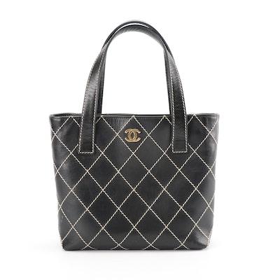 be5e16fb933f Chanel Black Calfskin Leather Tote with Diamond Contrast Stitch