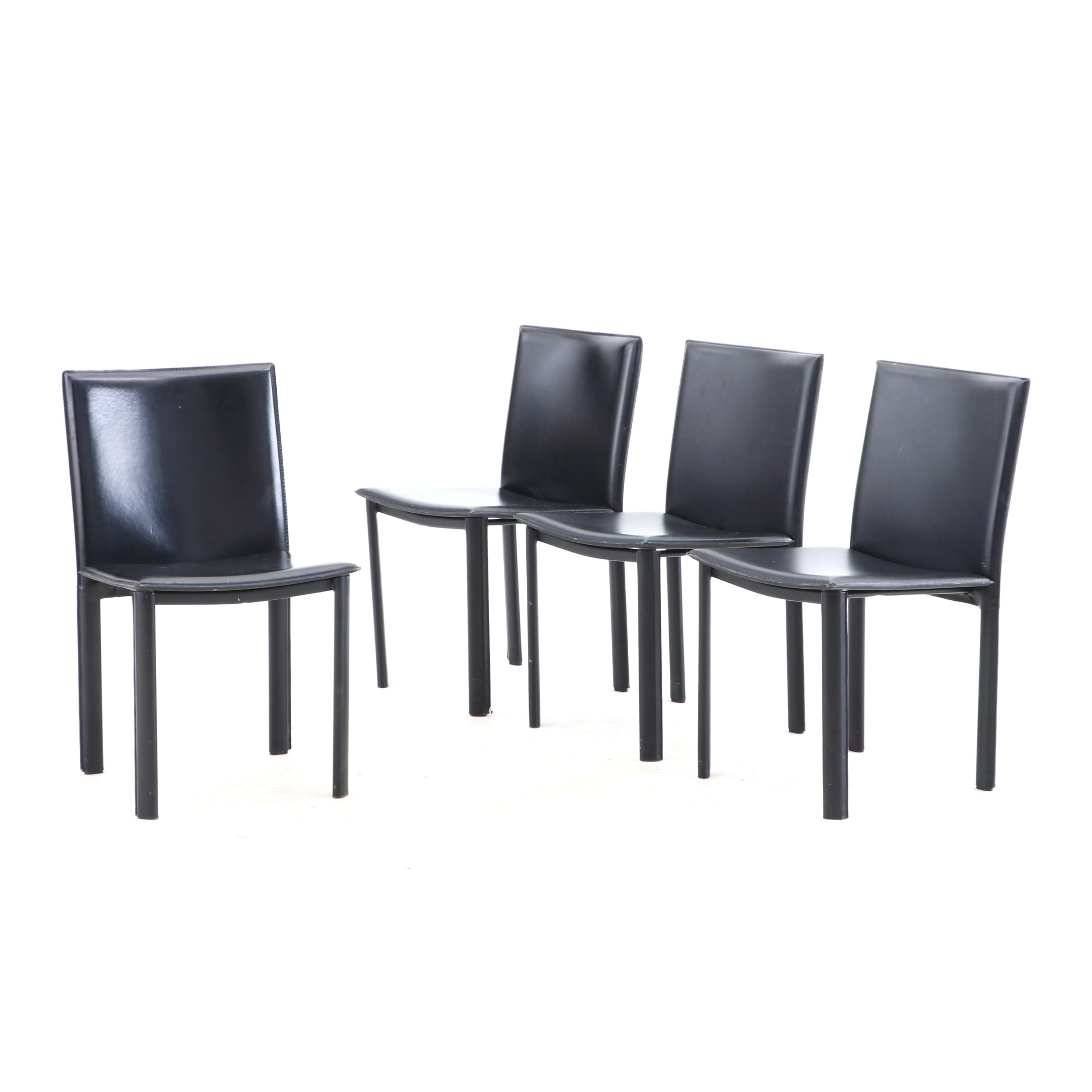 Four Black Vinyl Side Dining Chairs