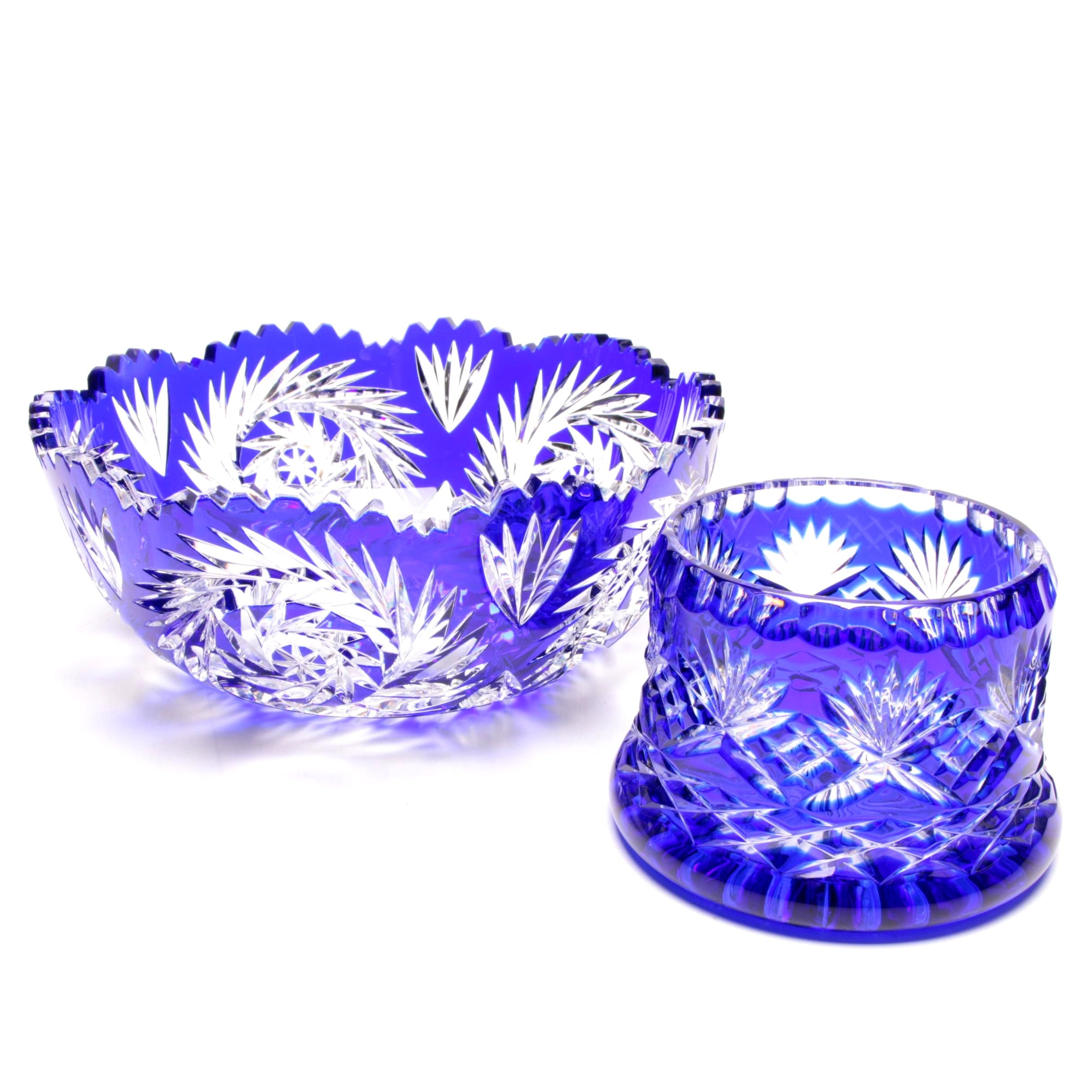 Cobalt Blue Cut to Clear Crystal Bowl and Candy Bowl