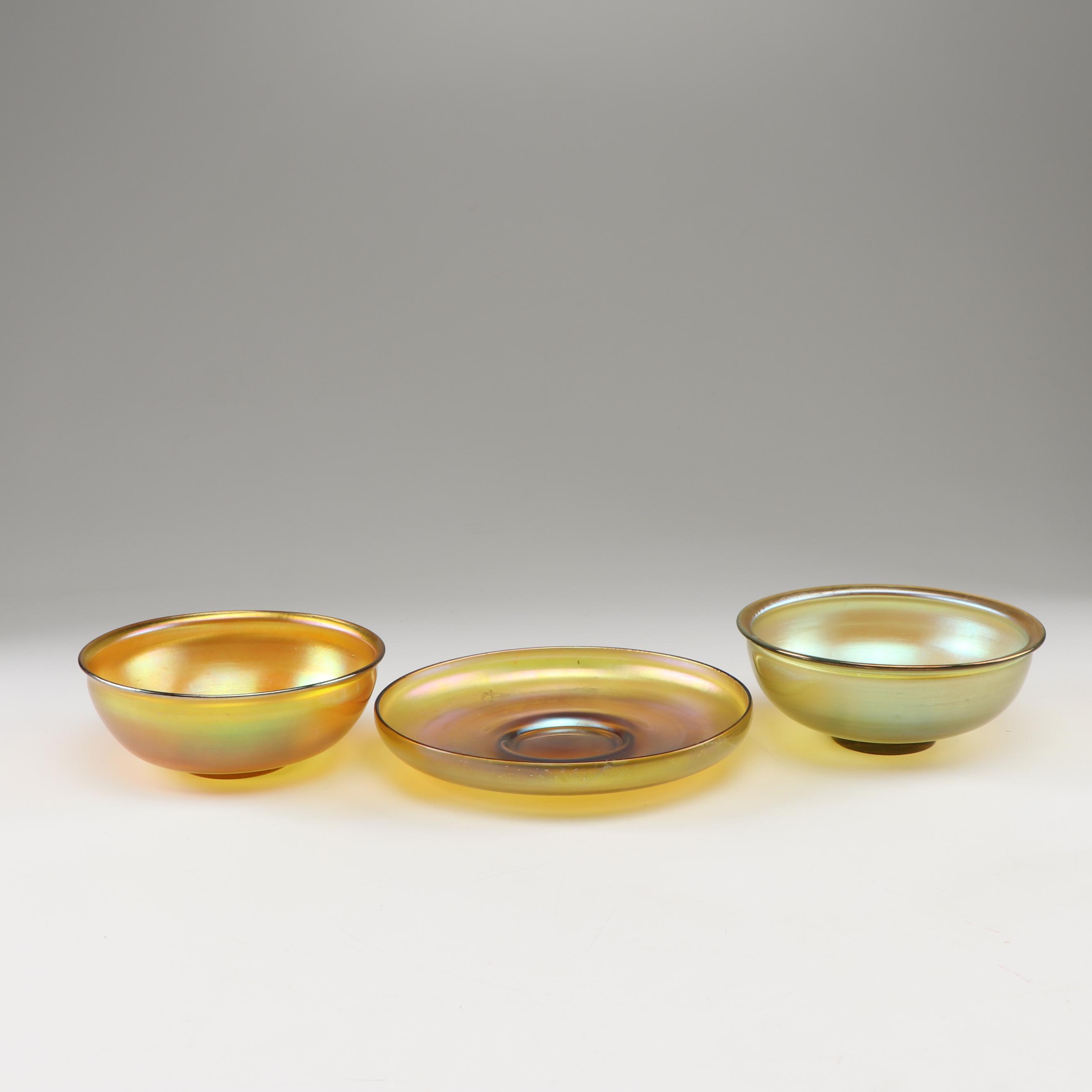 Tiffany Studios Favrile Lustre Glass Bowls and Plate, circa 1900