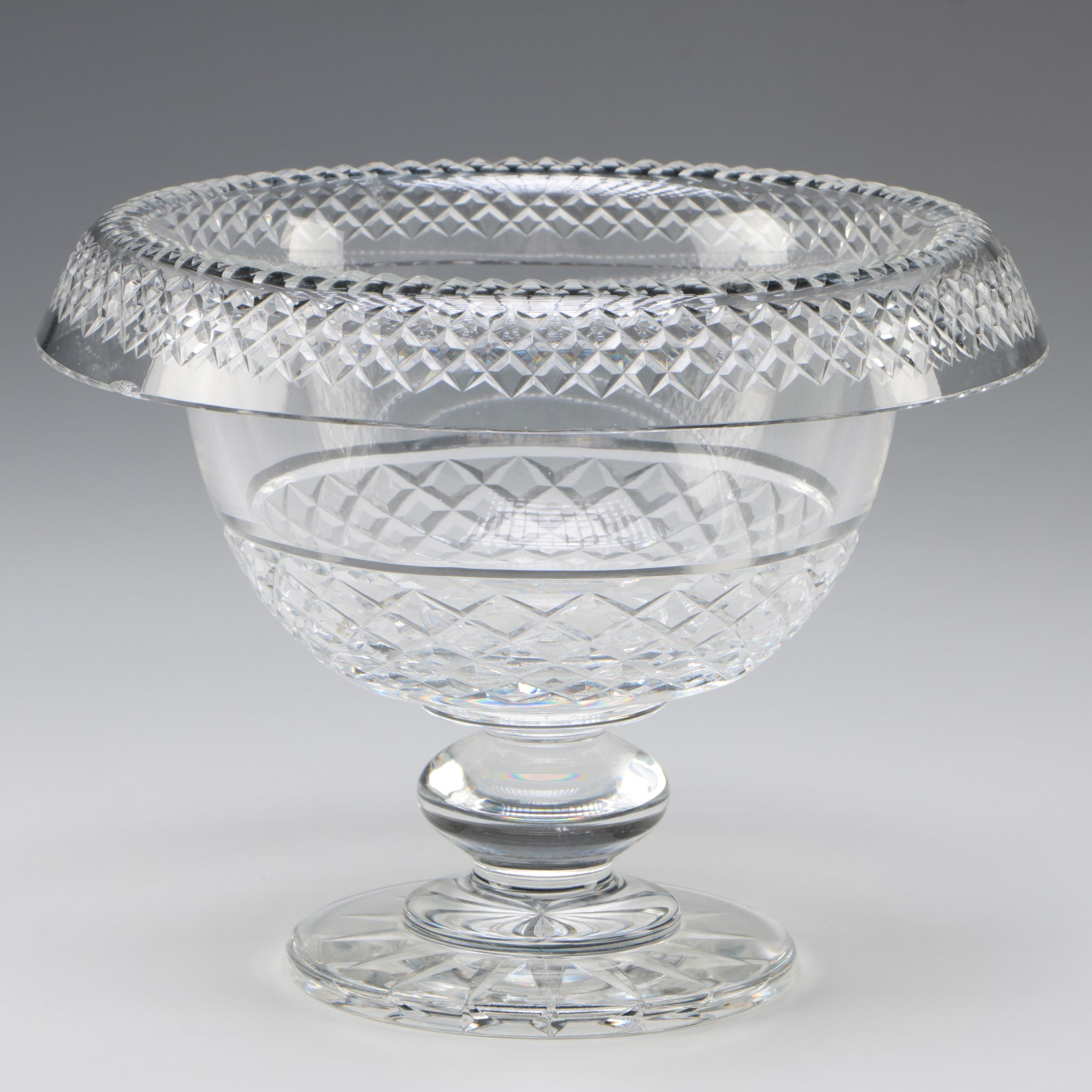 Waterford Crystal Footed Centerpiece Bowl with Rolled Rim