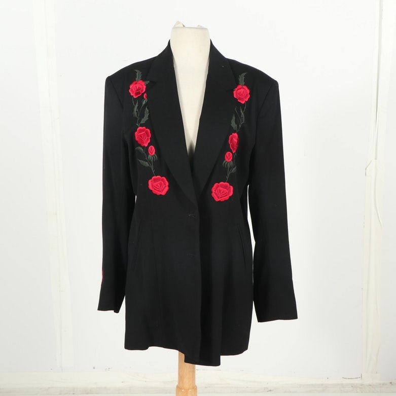 Women's The Manuel Collection Floral Embroidered Black Wool Gaberdine Blazer