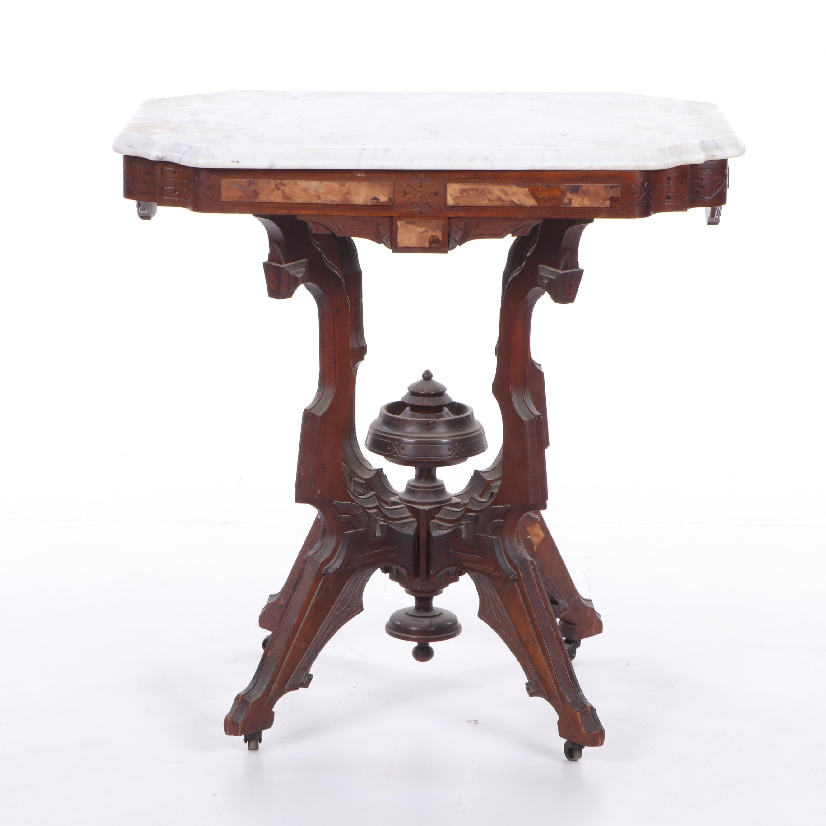 Eastlake Style Marble Top Side Table, Late 19th Century