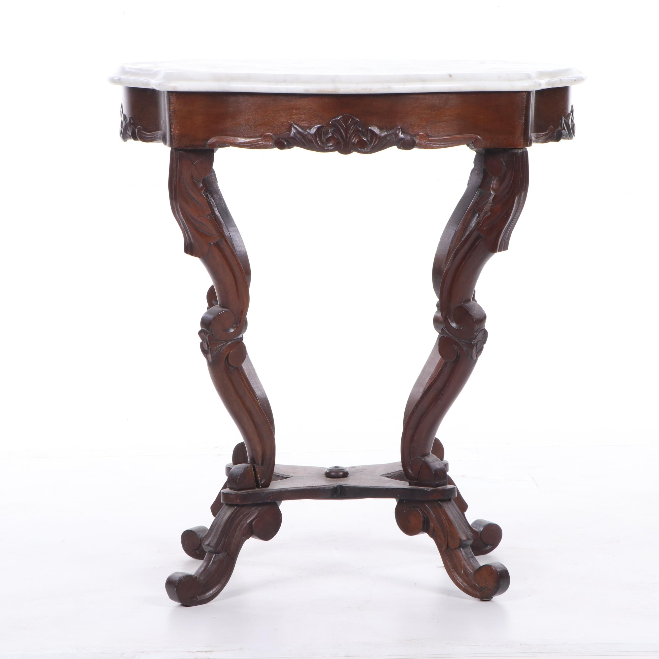 Late Victorian Mahogany Marble-Top Table, Early 20th Century