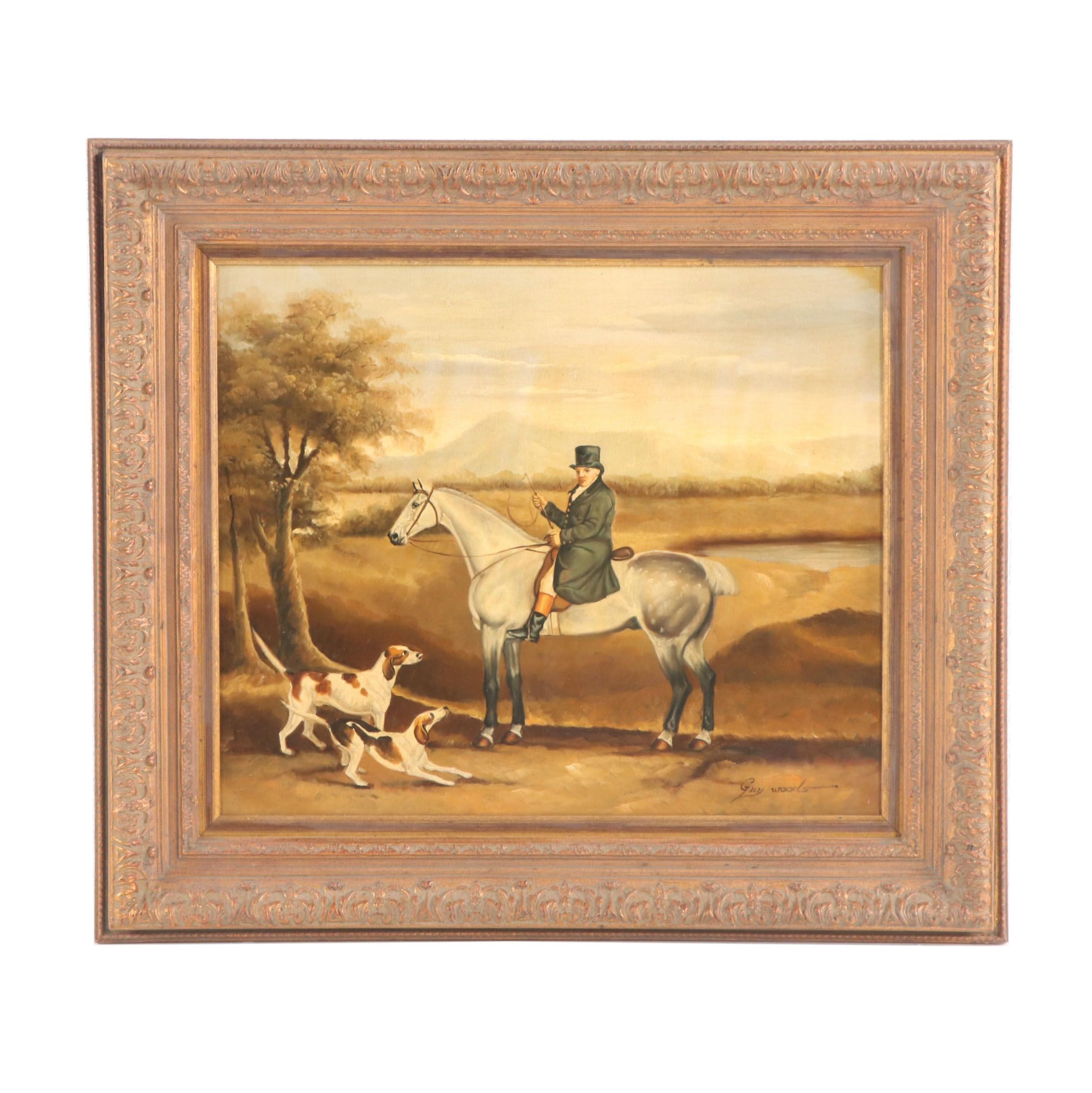 Gray Woods Oil Painting of Hunting Scene
