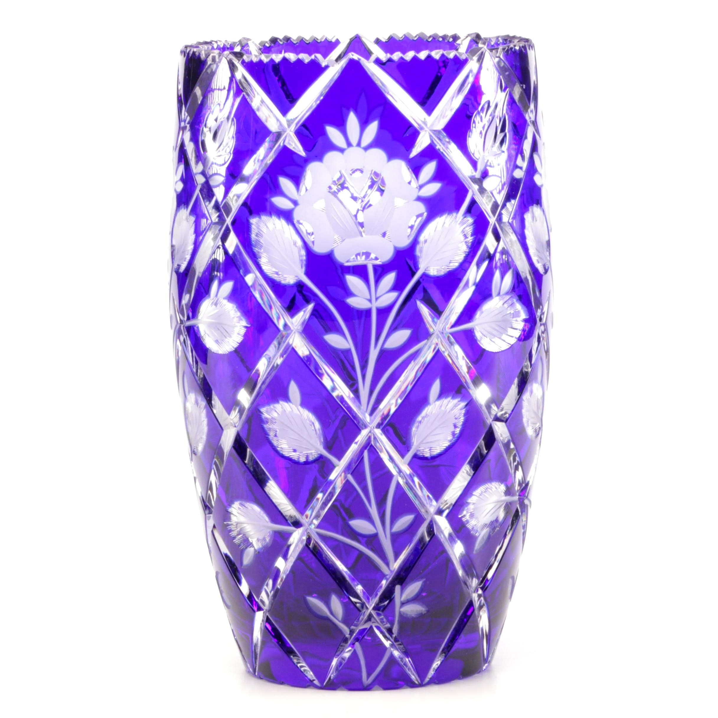 Cobalt Blue Cut to Clear Crystal Vase