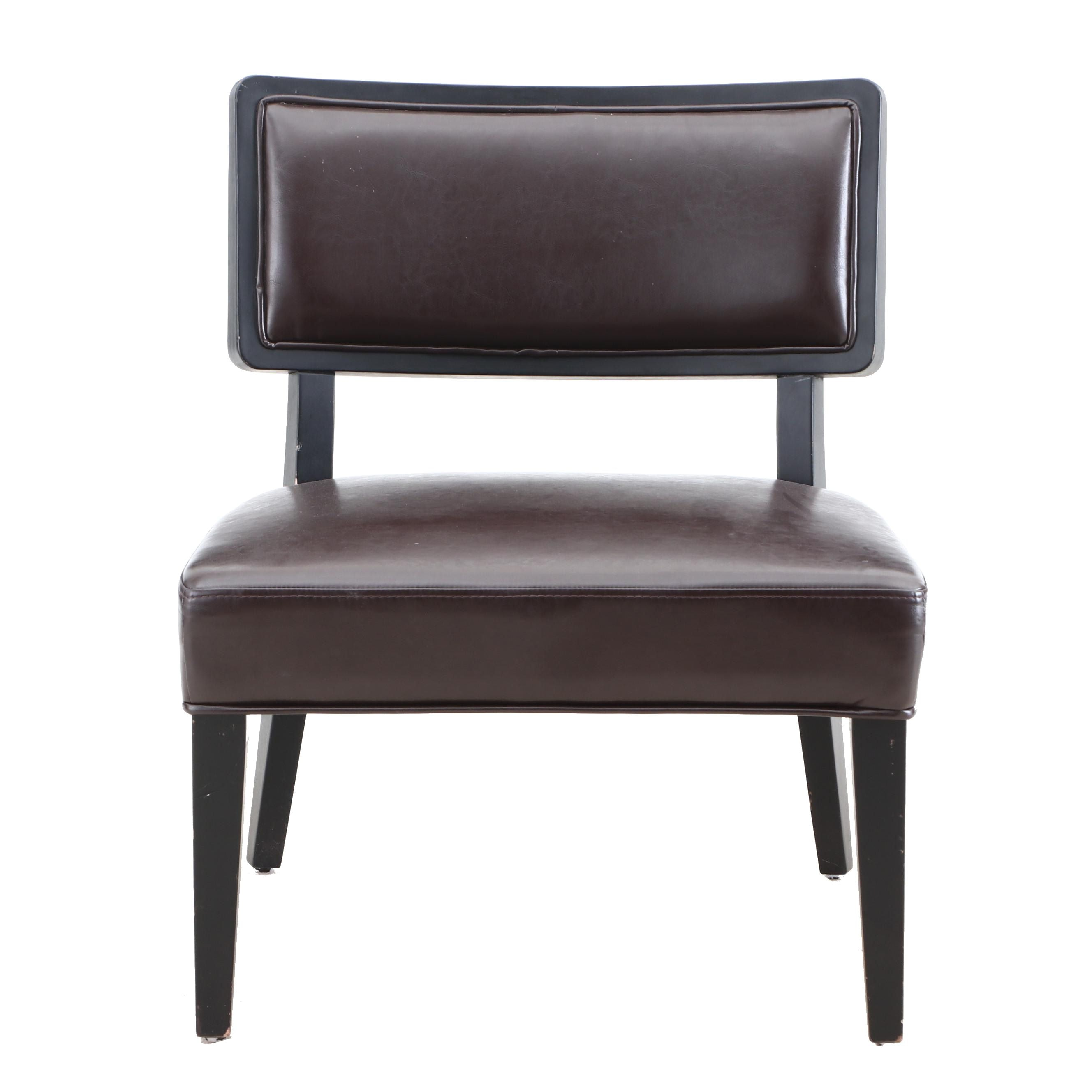 Upholstered Side Chair in Brown Faux Leather