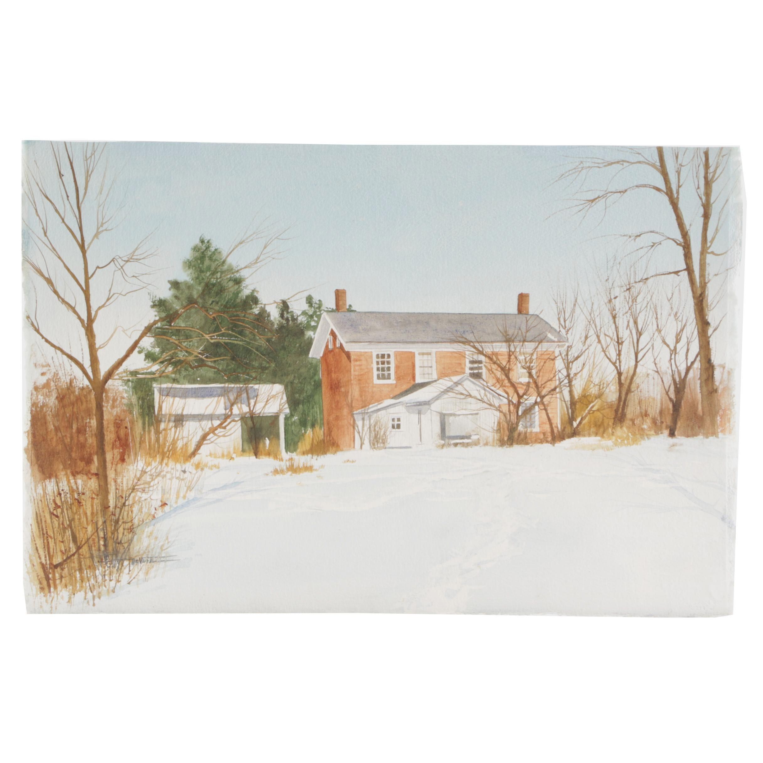 James DeVore Watercolor Painting of Winter Landscape with House