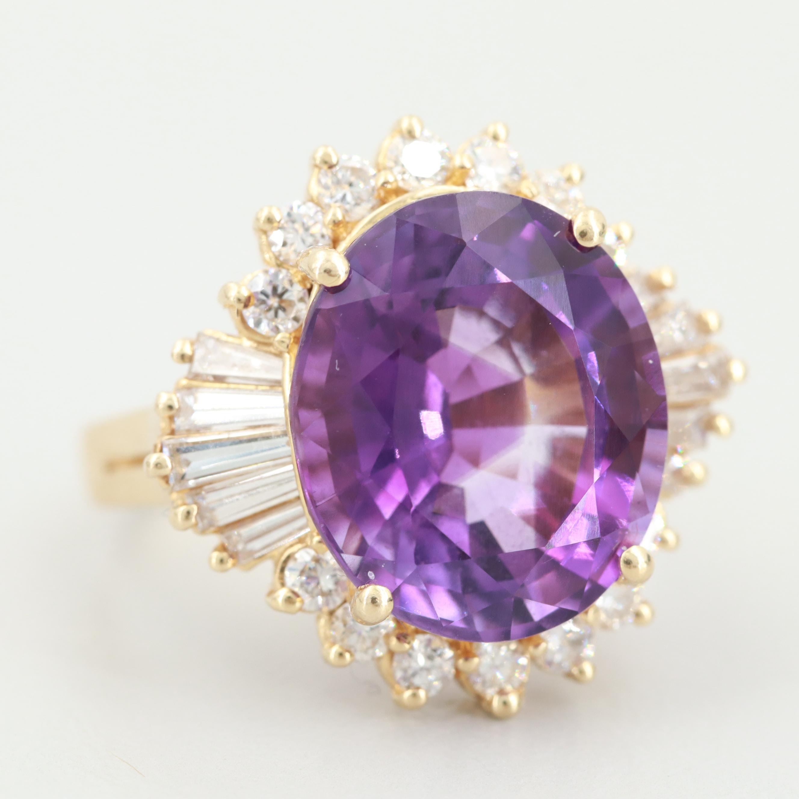 Gottlieb & Sons 14K Yellow Gold Amethyst and 1.06 CTW Diamond Ring