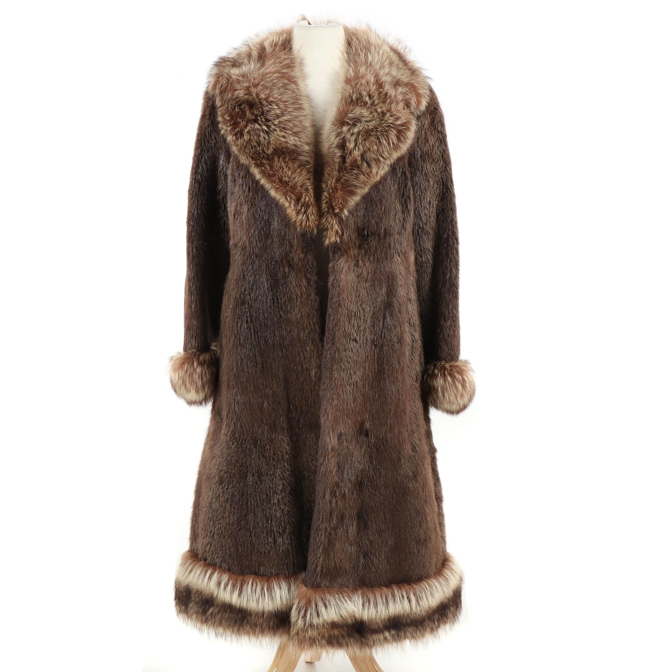 Women's Beaver Fur Coat with Raccoon Fur Trim