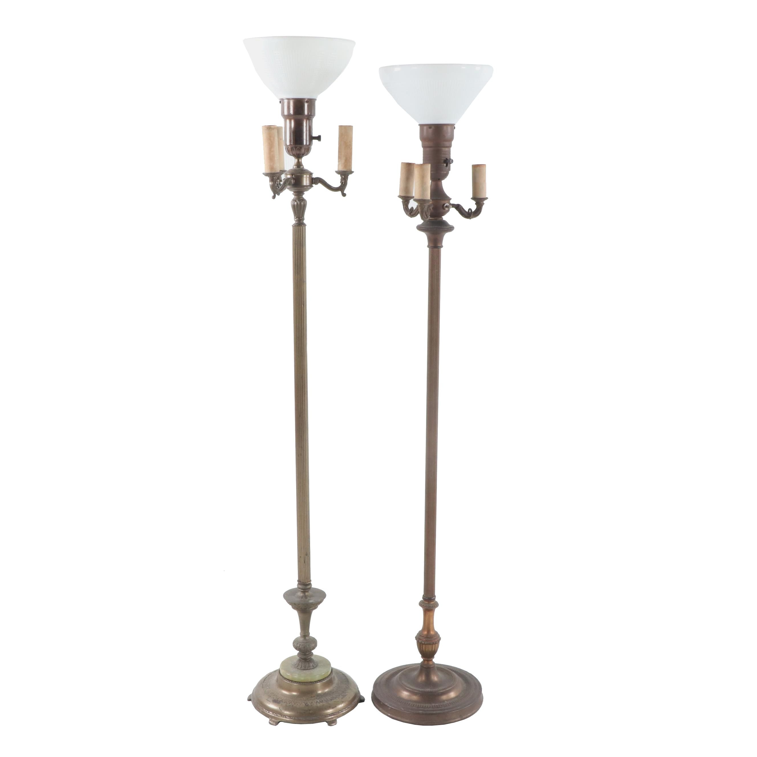 Metal Torchiere Candelabra Floor Lamps, Early 20th Century