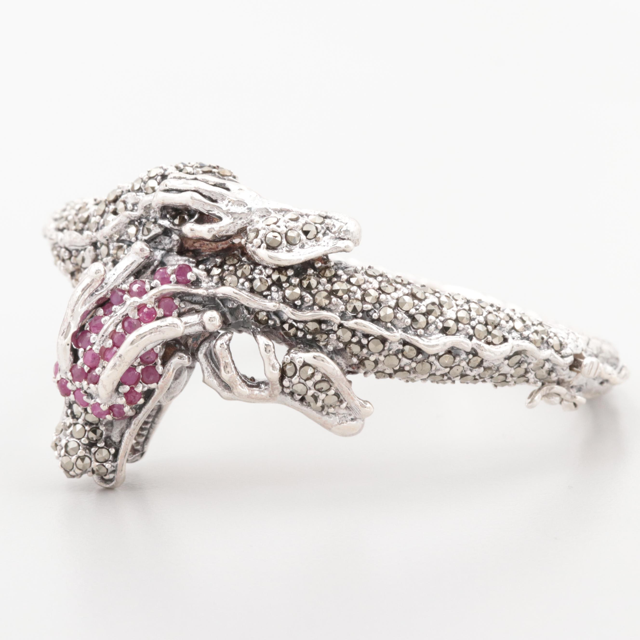 Sterling Silver Ruby and Marcasite Dragon Bangle