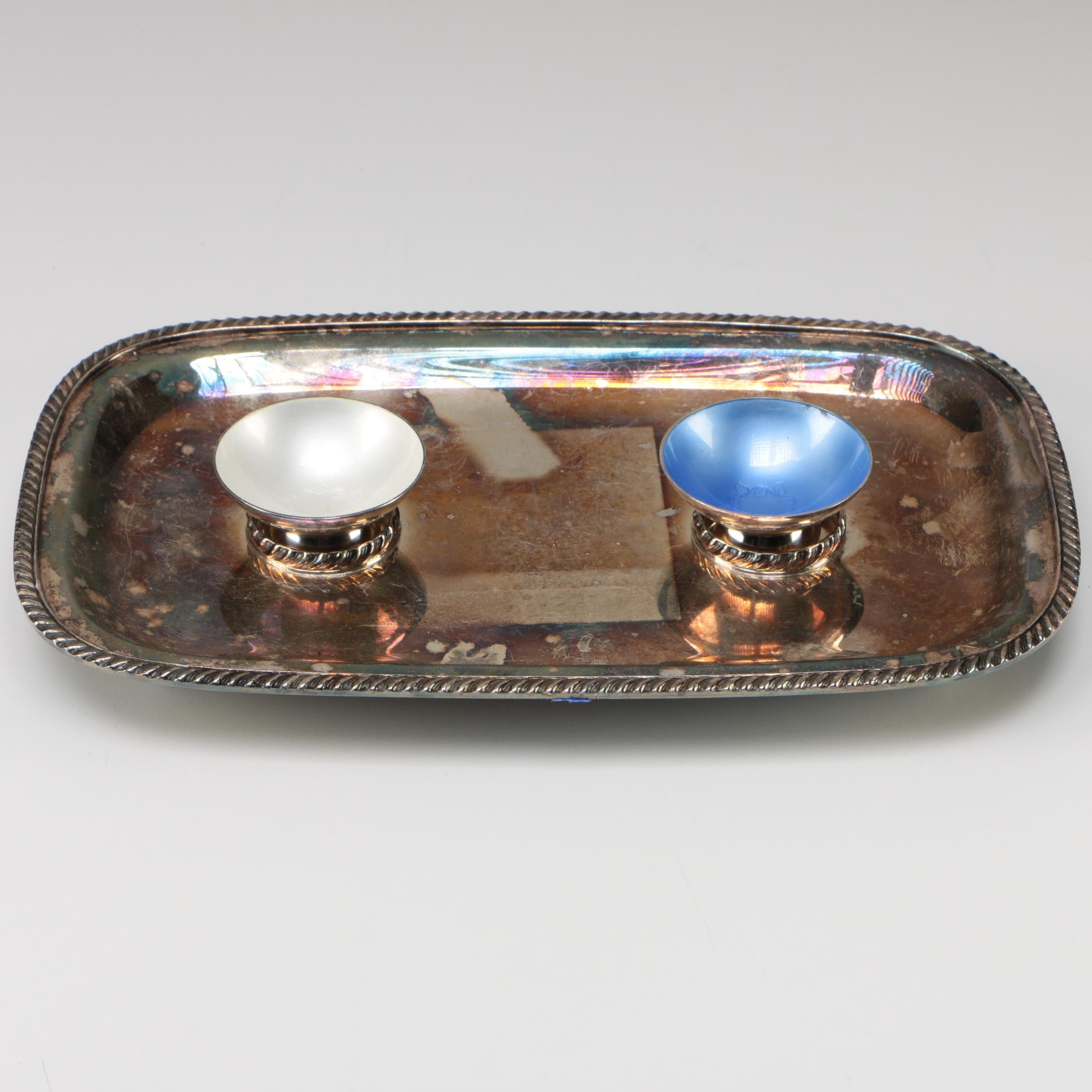 Volmer Bahner Danish Sterling and Enamel Salt Cellars with Silver Plate Tray