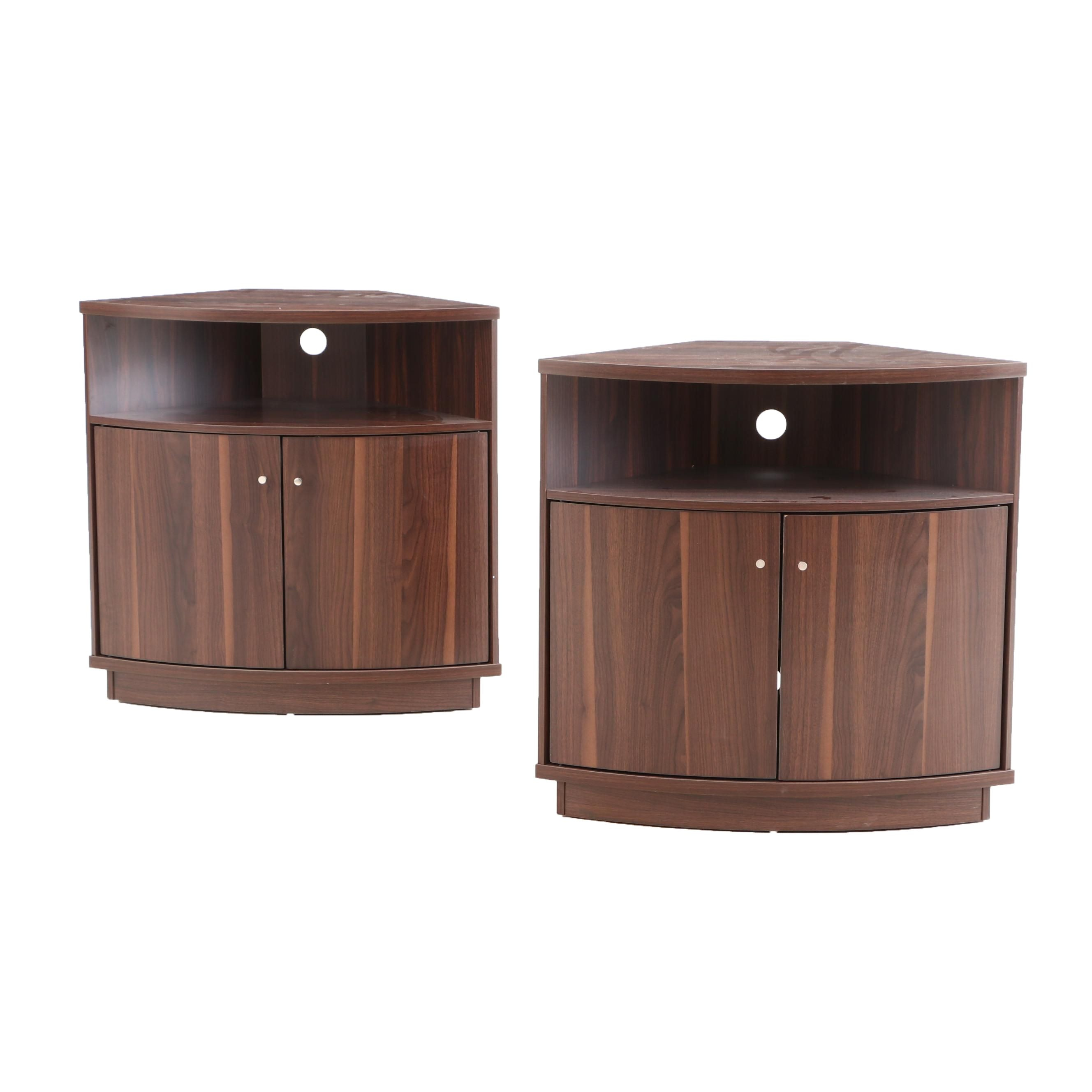 Pair of Corner Entertainment Cabinet Tables