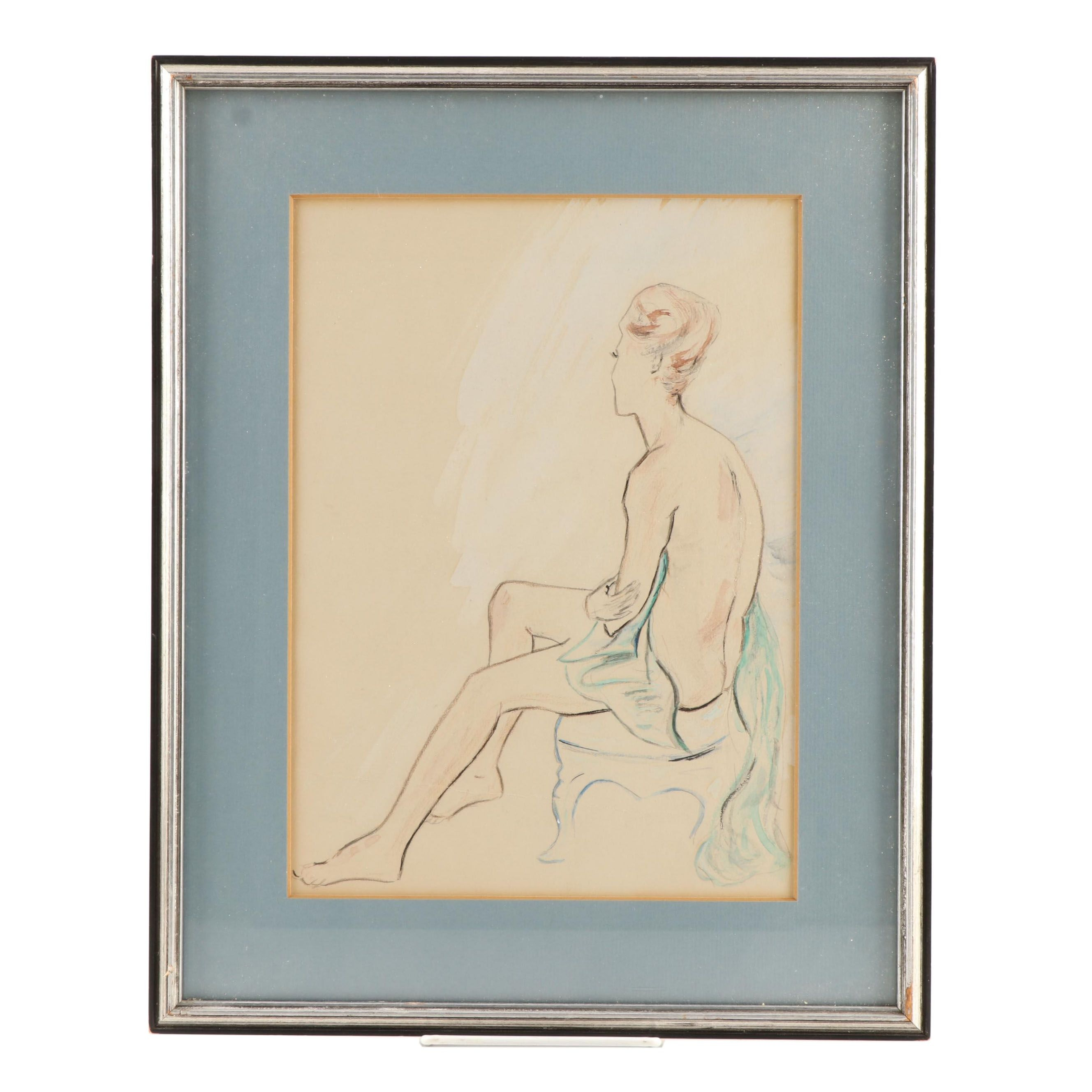Watercolor Painting of Female Figure